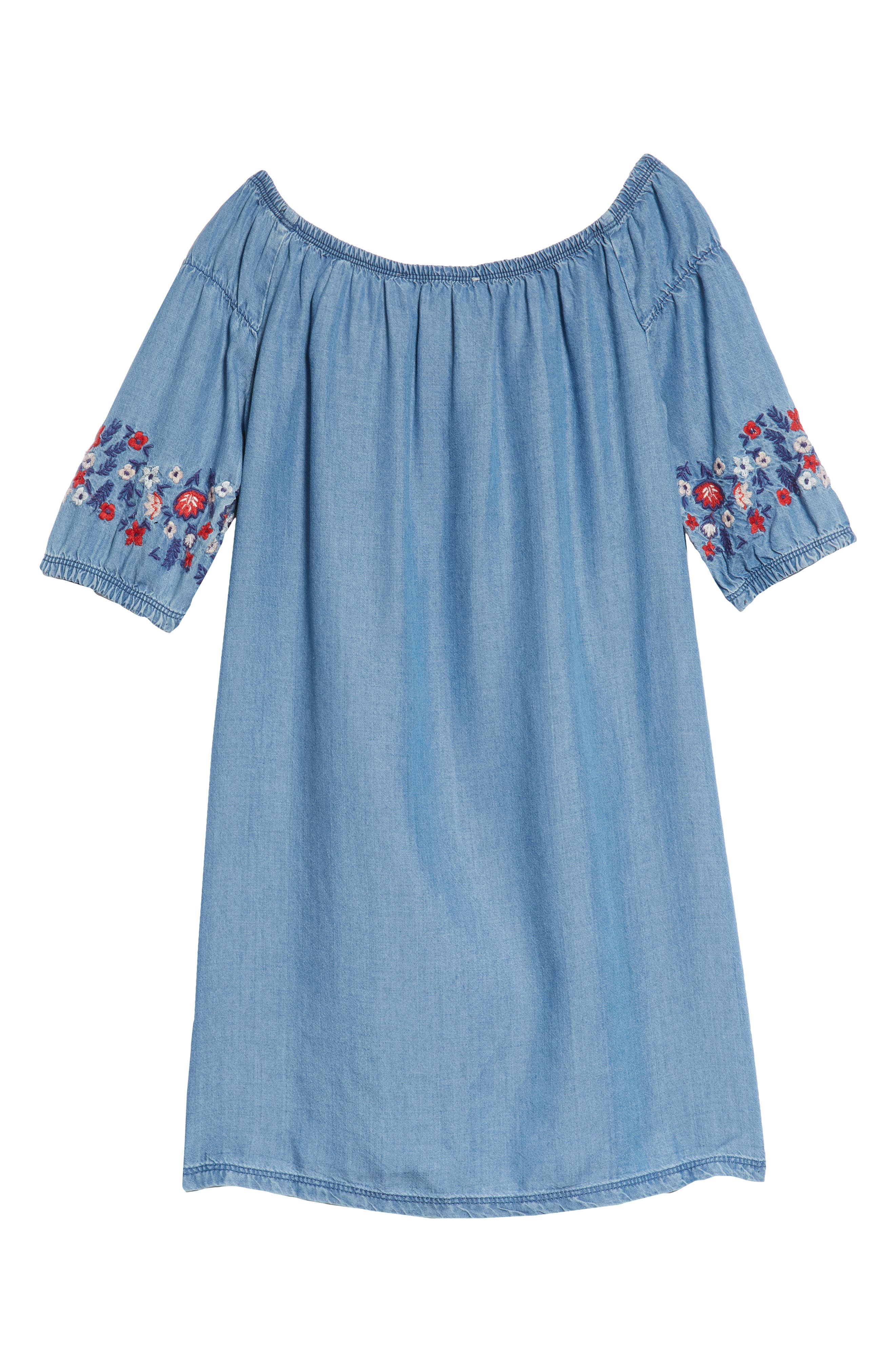 Flower Embroidered Off-the-Shoulder Dress,                             Alternate thumbnail 2, color,                             Blue River Wash