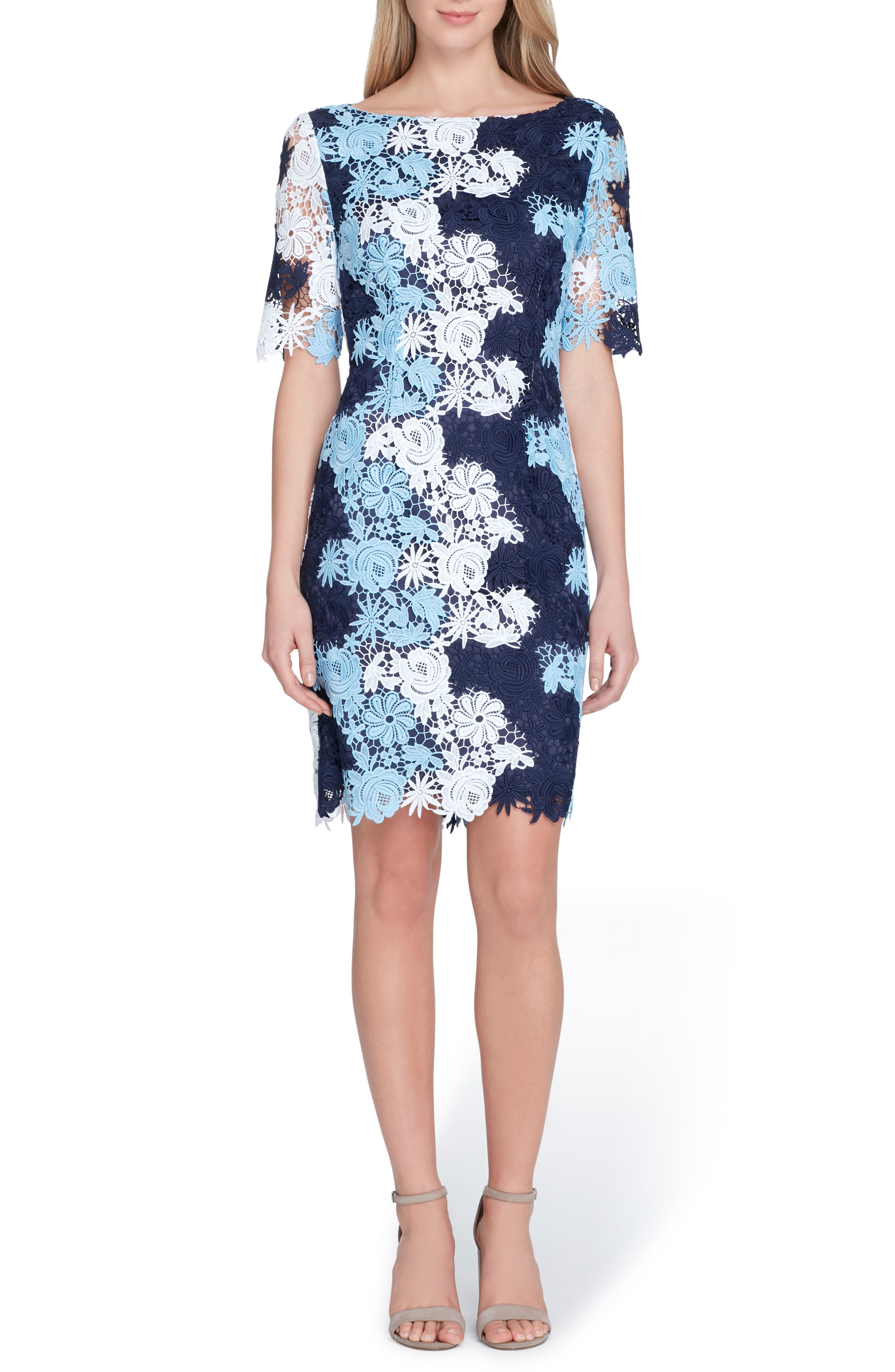 Multicolor Lace Sheath Dress,                             Main thumbnail 1, color,                             Navy/ Sky/ Pale Blue