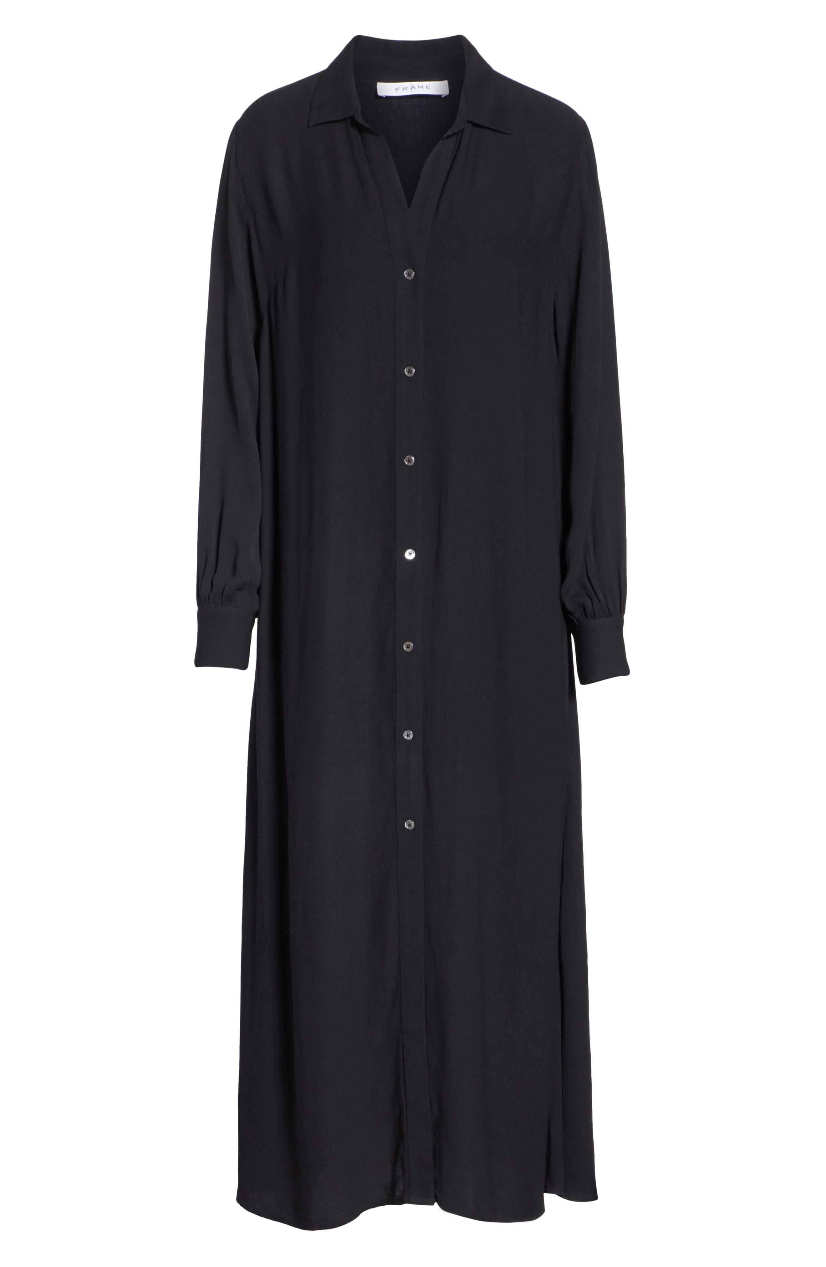 Maxi Shirtdress,                             Alternate thumbnail 7, color,                             Noir