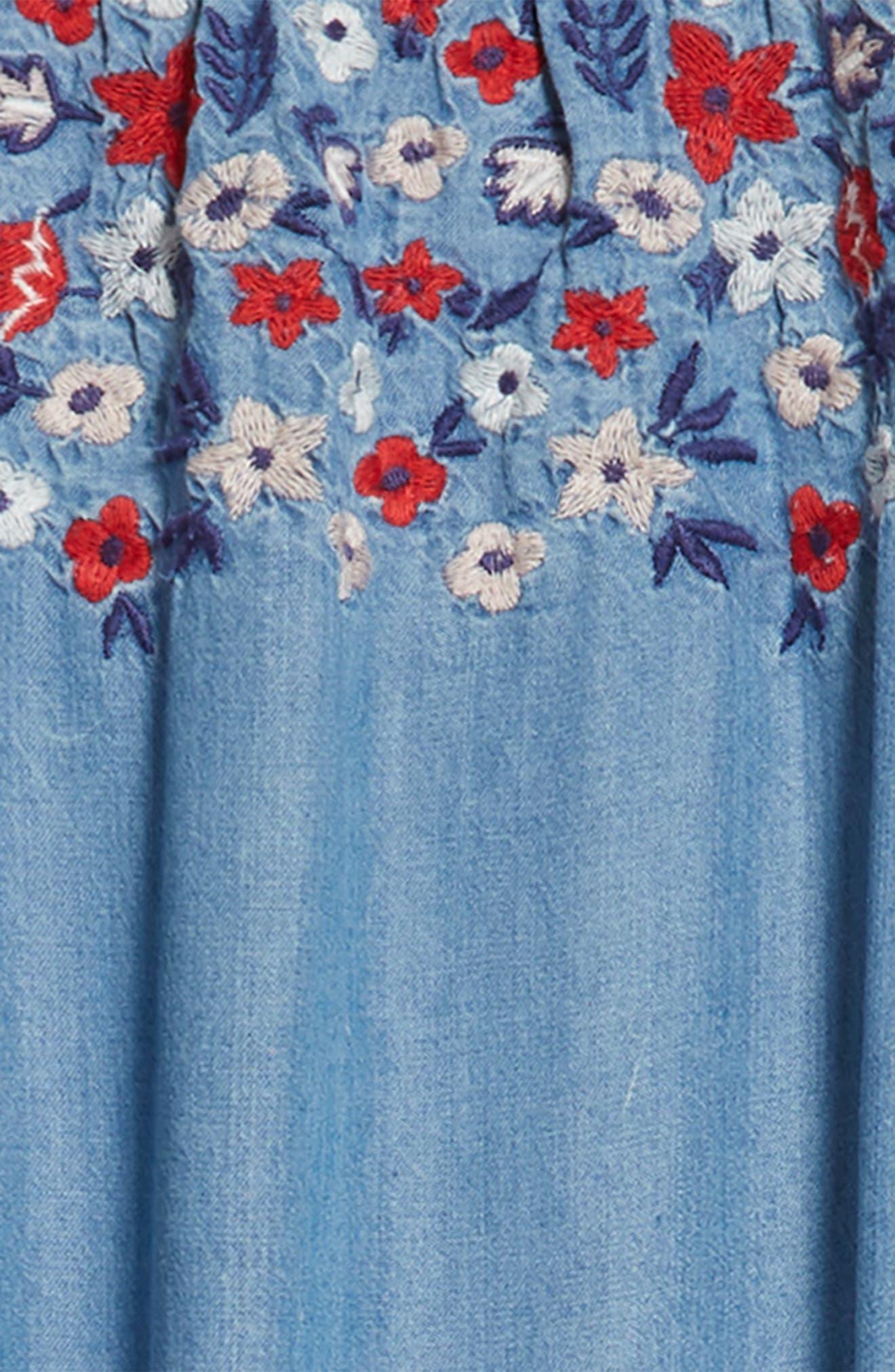 Flower Embroidered Off-the-Shoulder Dress,                             Alternate thumbnail 3, color,                             Blue River Wash