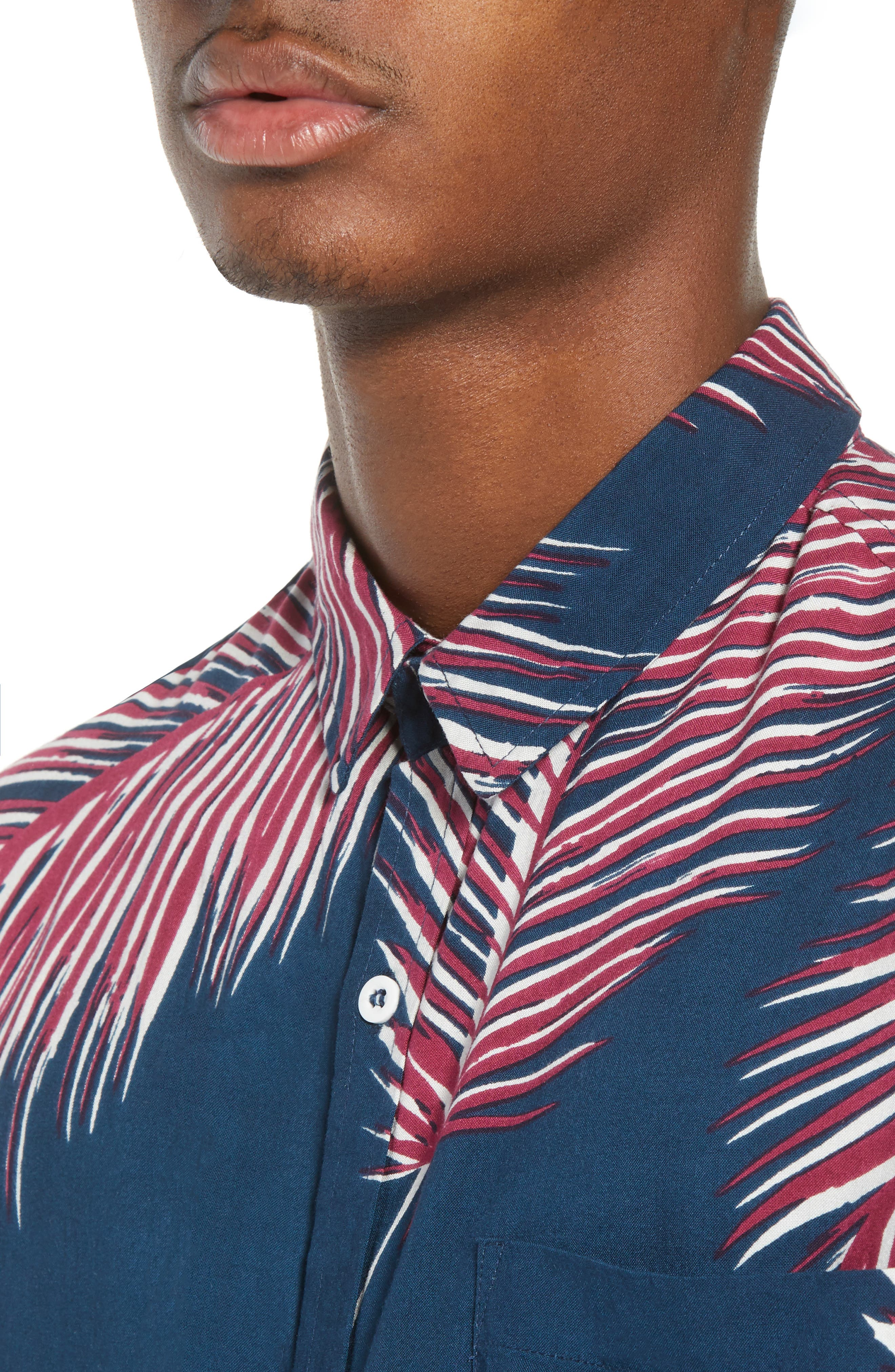 Giant Palms Woven Shirt,                             Alternate thumbnail 2, color,                             Navy