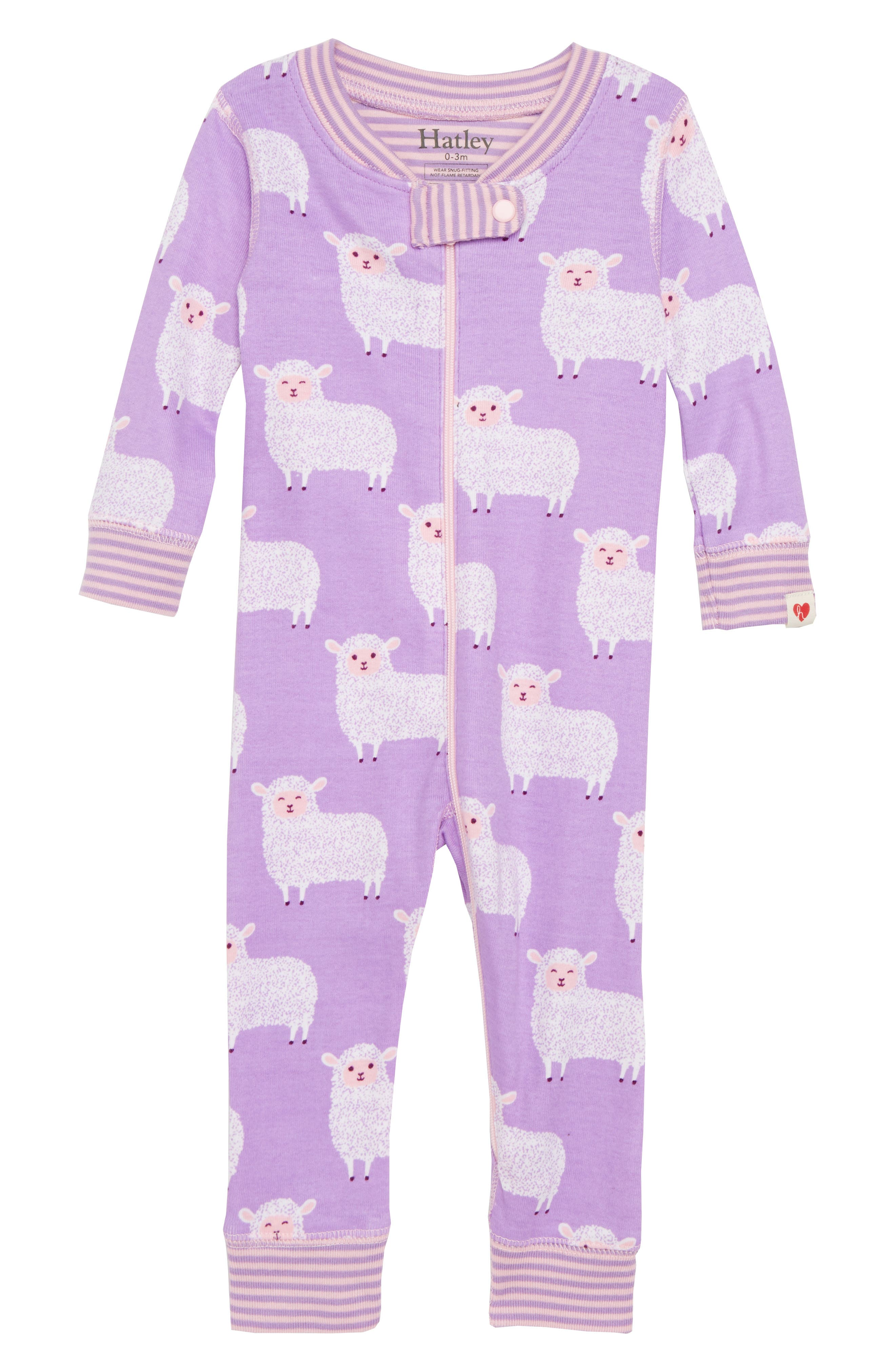 Counting Sheep Fitted One-Piece Pajamas,                         Main,                         color, Counting Sheep