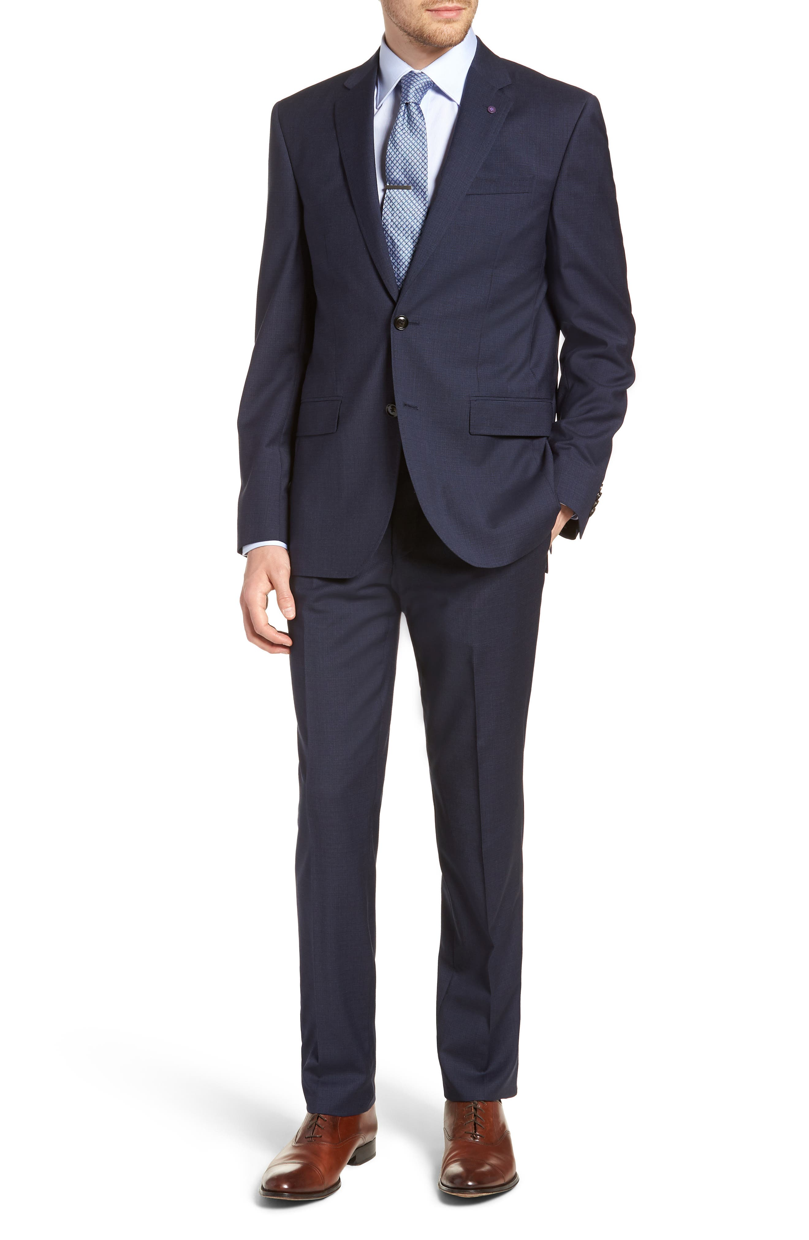 Jay Trim Fit Solid Wool Suit,                         Main,                         color, Blue