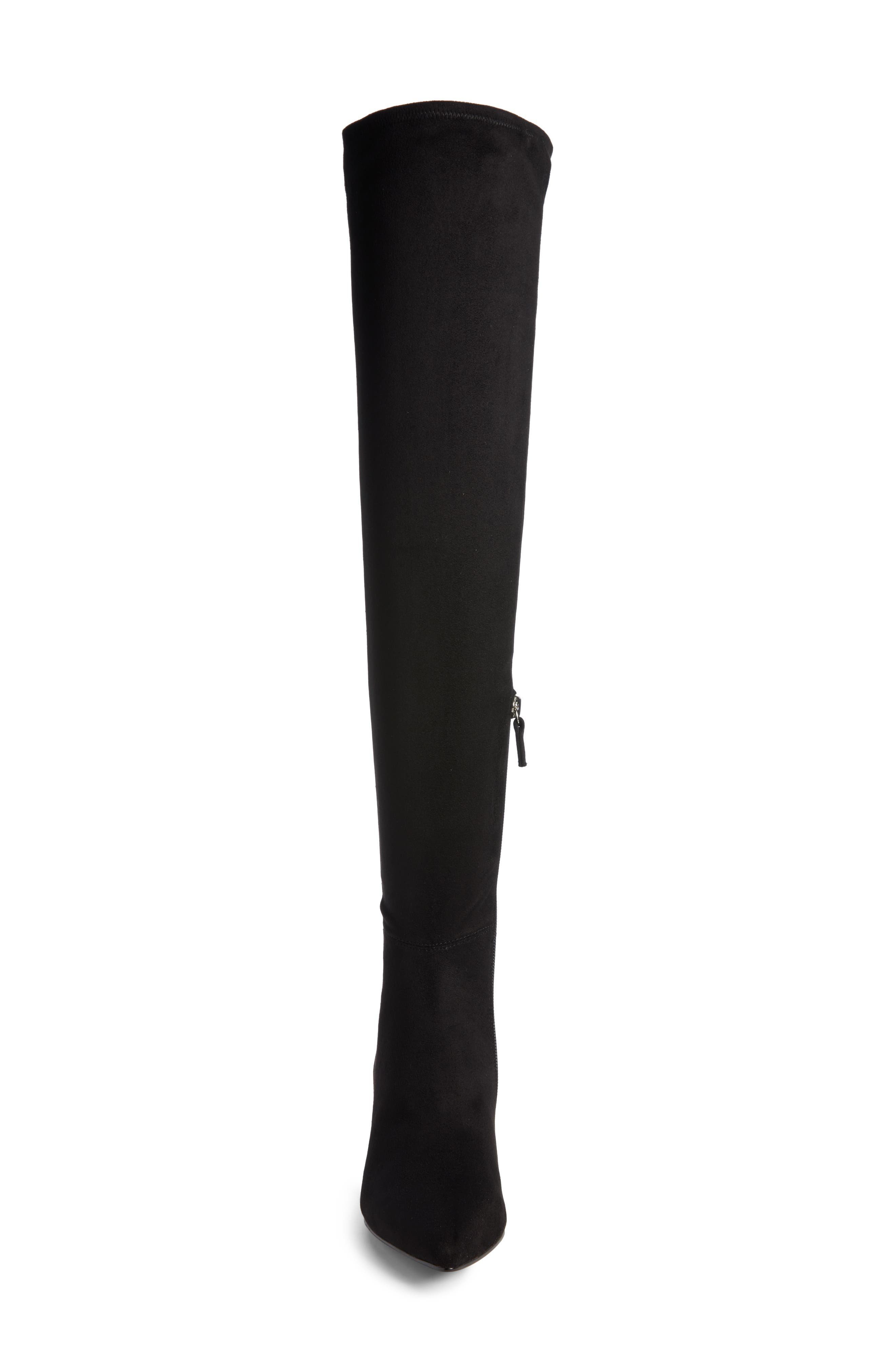 Brinkley Over the Knee Stretch Boot,                             Alternate thumbnail 4, color,                             Black Suede
