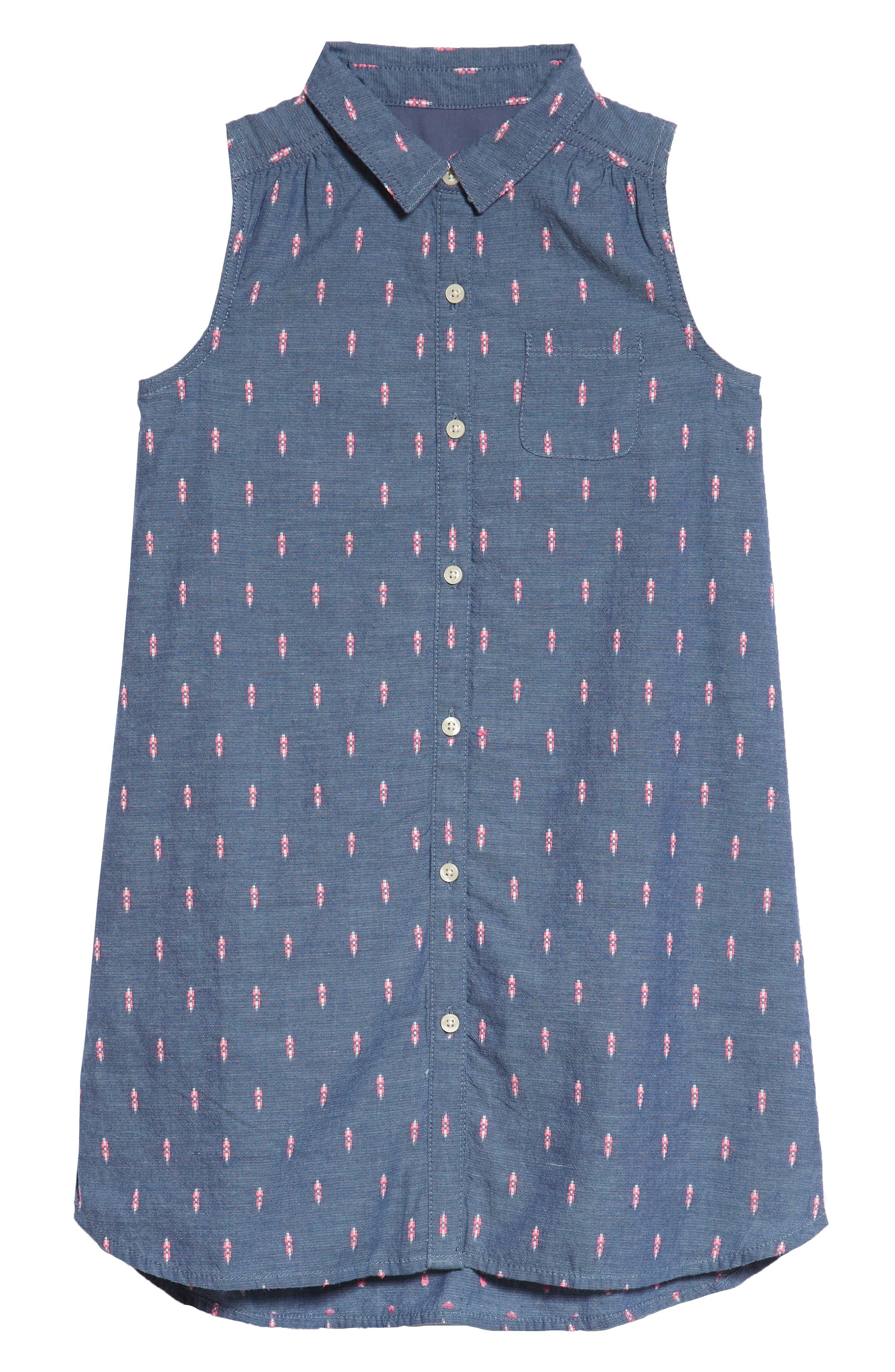 Sleeveless Shirtdress,                         Main,                         color, Blue Chinoise