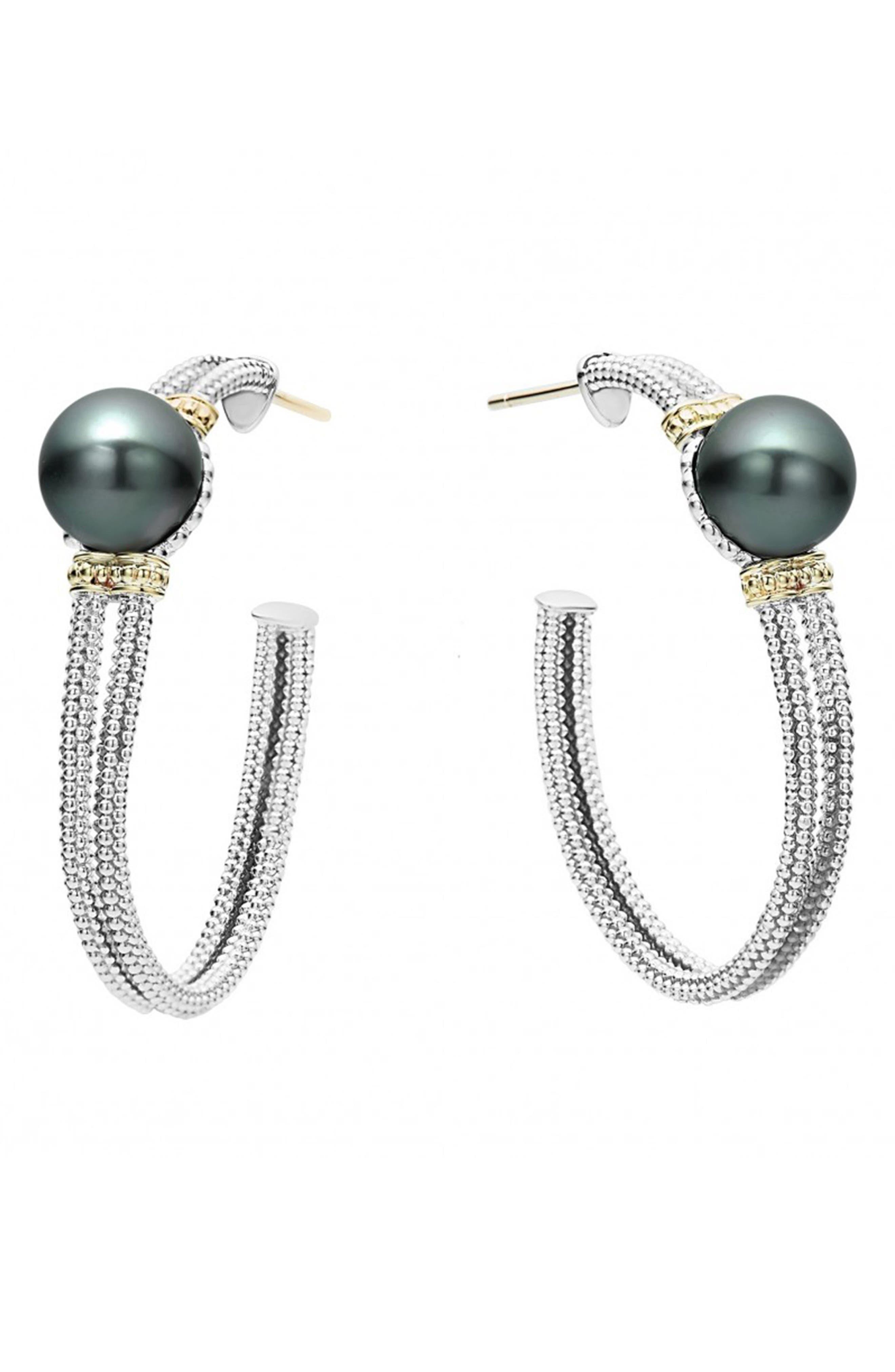 Luna 10mm Pearl Hoop Earrings,                             Main thumbnail 1, color,                             Black Pearl