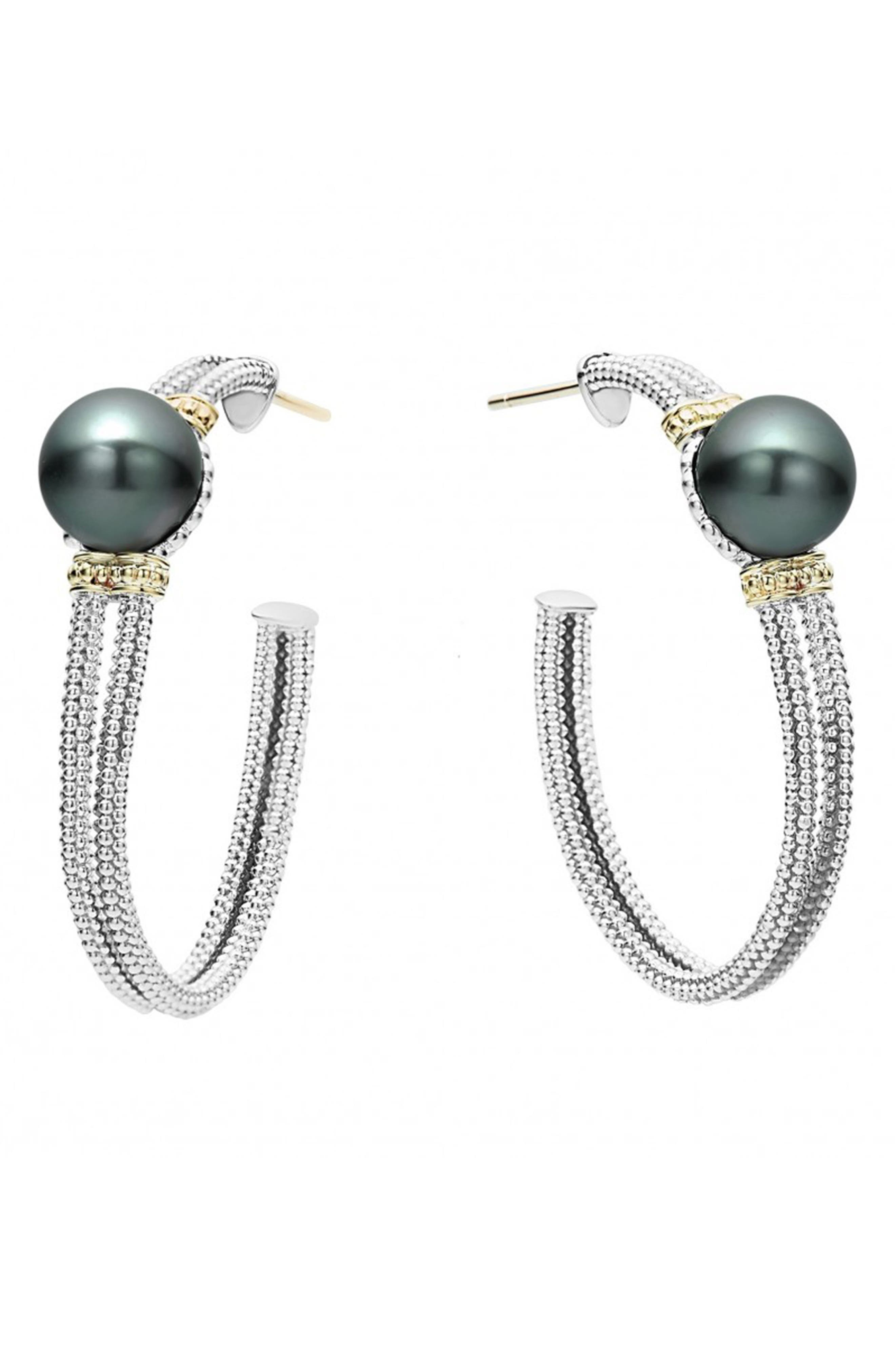 LAGOS Luna 10mm Pearl Hoop Earrings