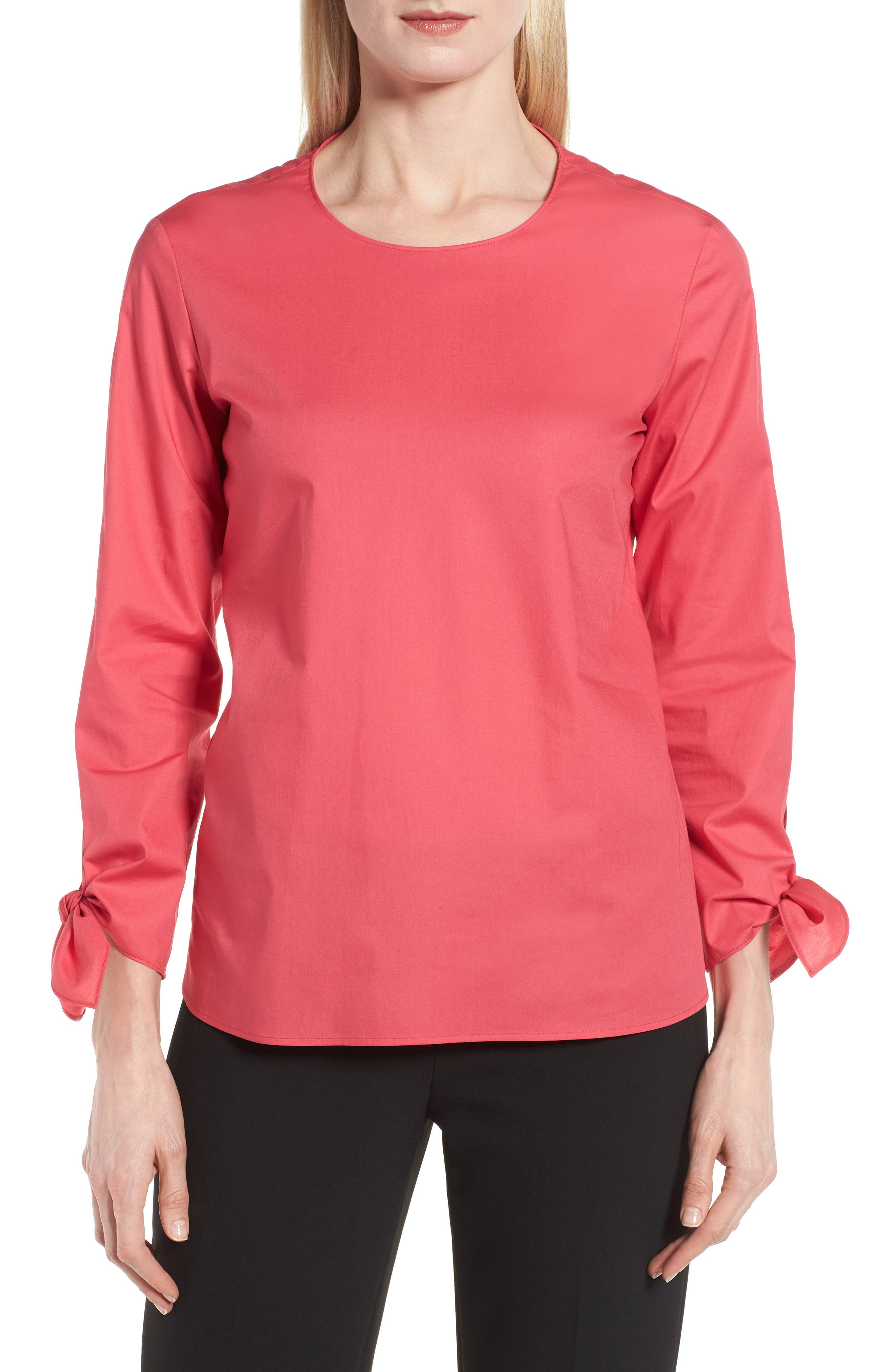 Isolema Stretch Cotton Bow Sleeve Top,                             Main thumbnail 1, color,                             Lychee Pink