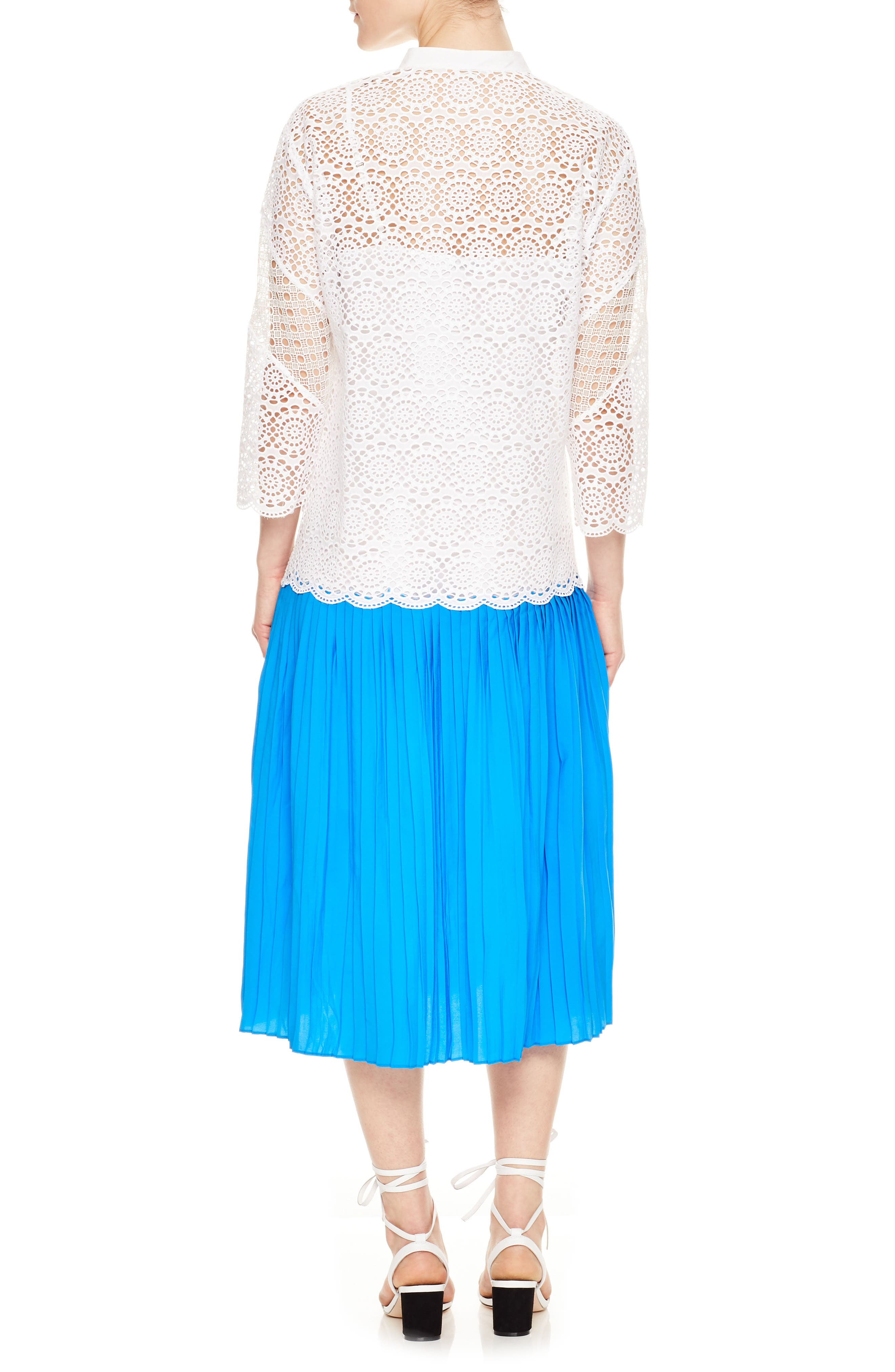 Drop Waist Lace Pleated Dress,                             Alternate thumbnail 2, color,                             Blanc