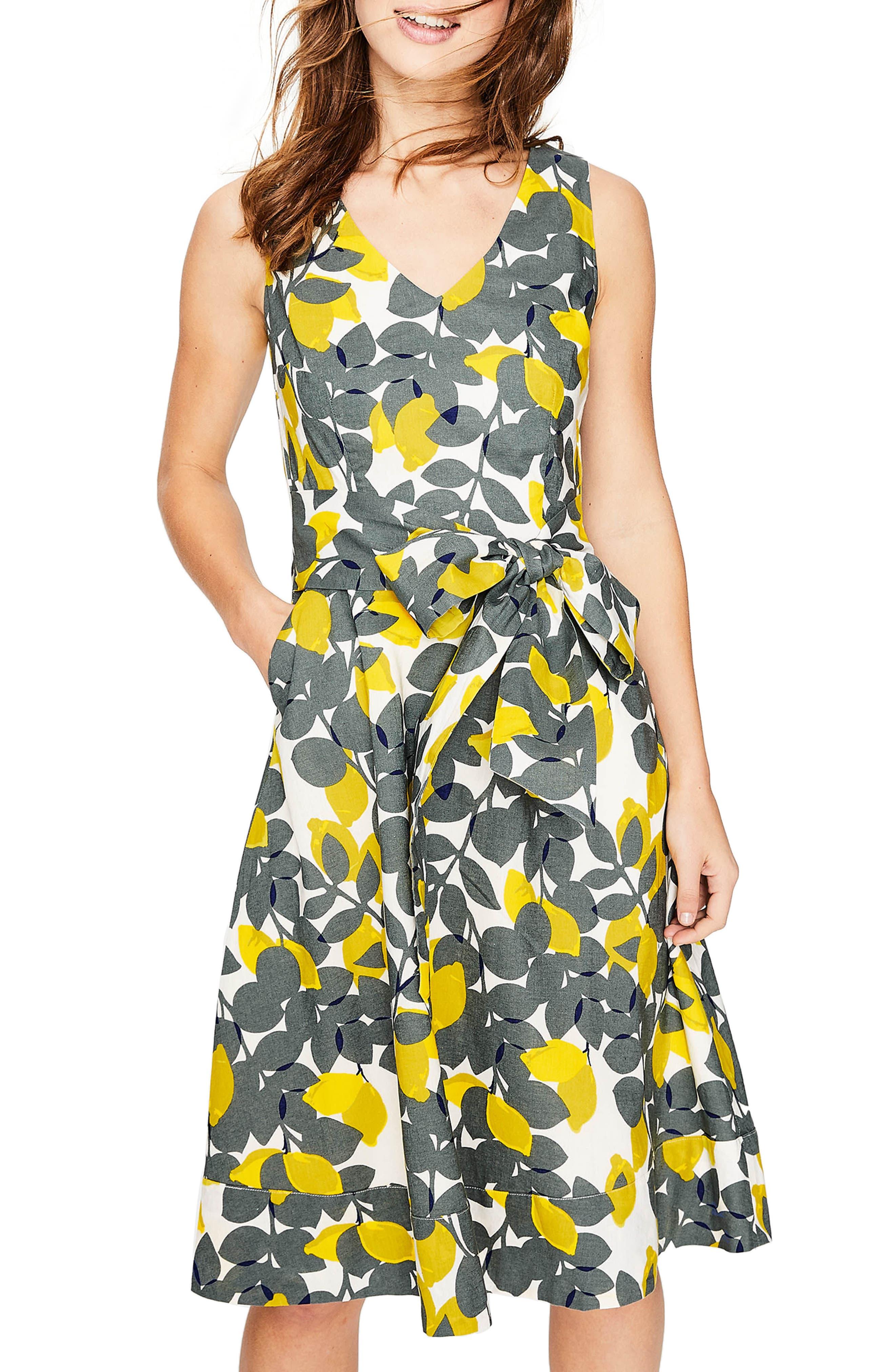 Jade Fit & Flare Linen Cotton Dress,                             Alternate thumbnail 5, color,                             Dark Sage Lemons