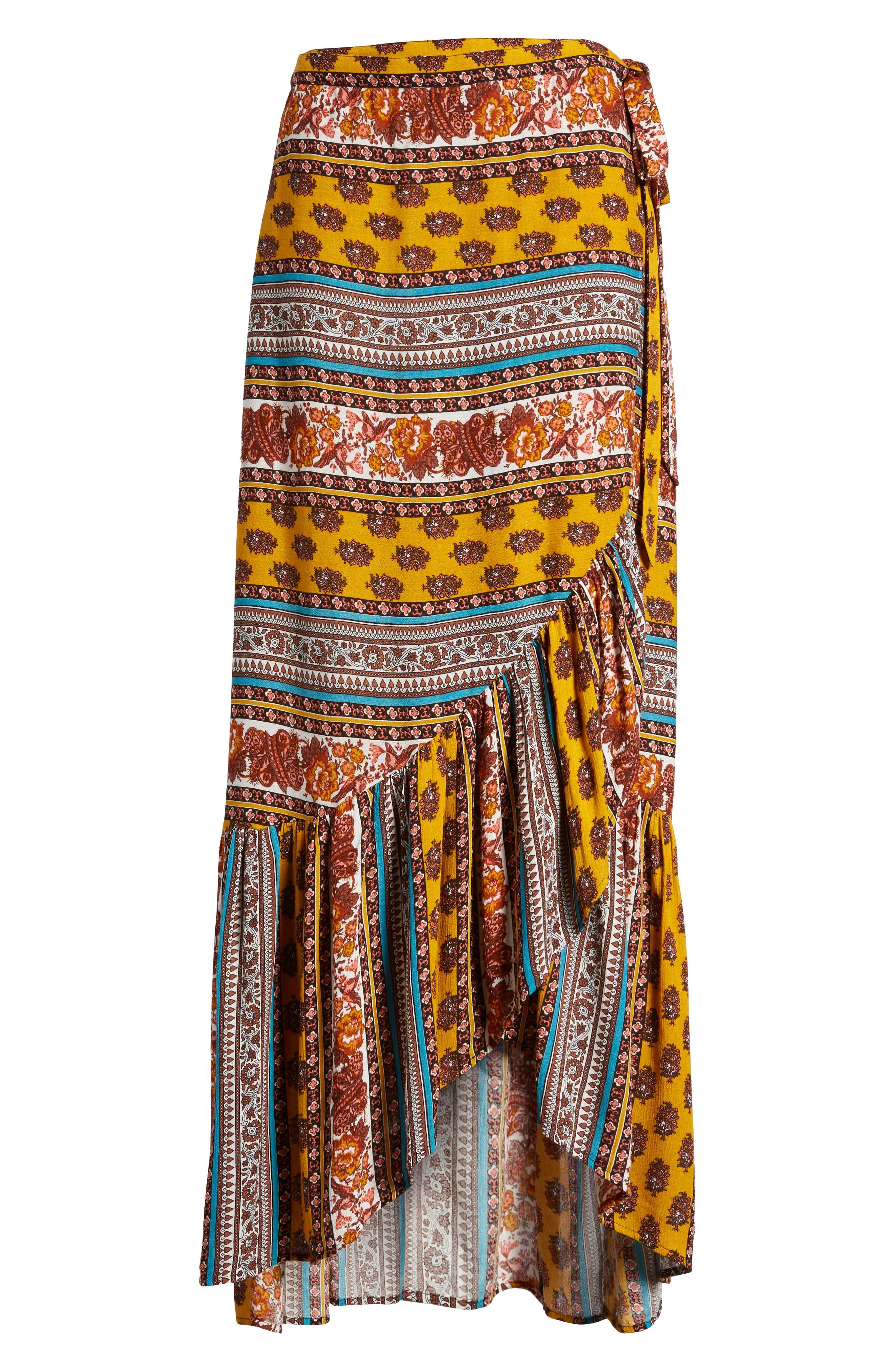Geo Stripe Wrap Skirt,                         Main,                         color, Gold/ Teal
