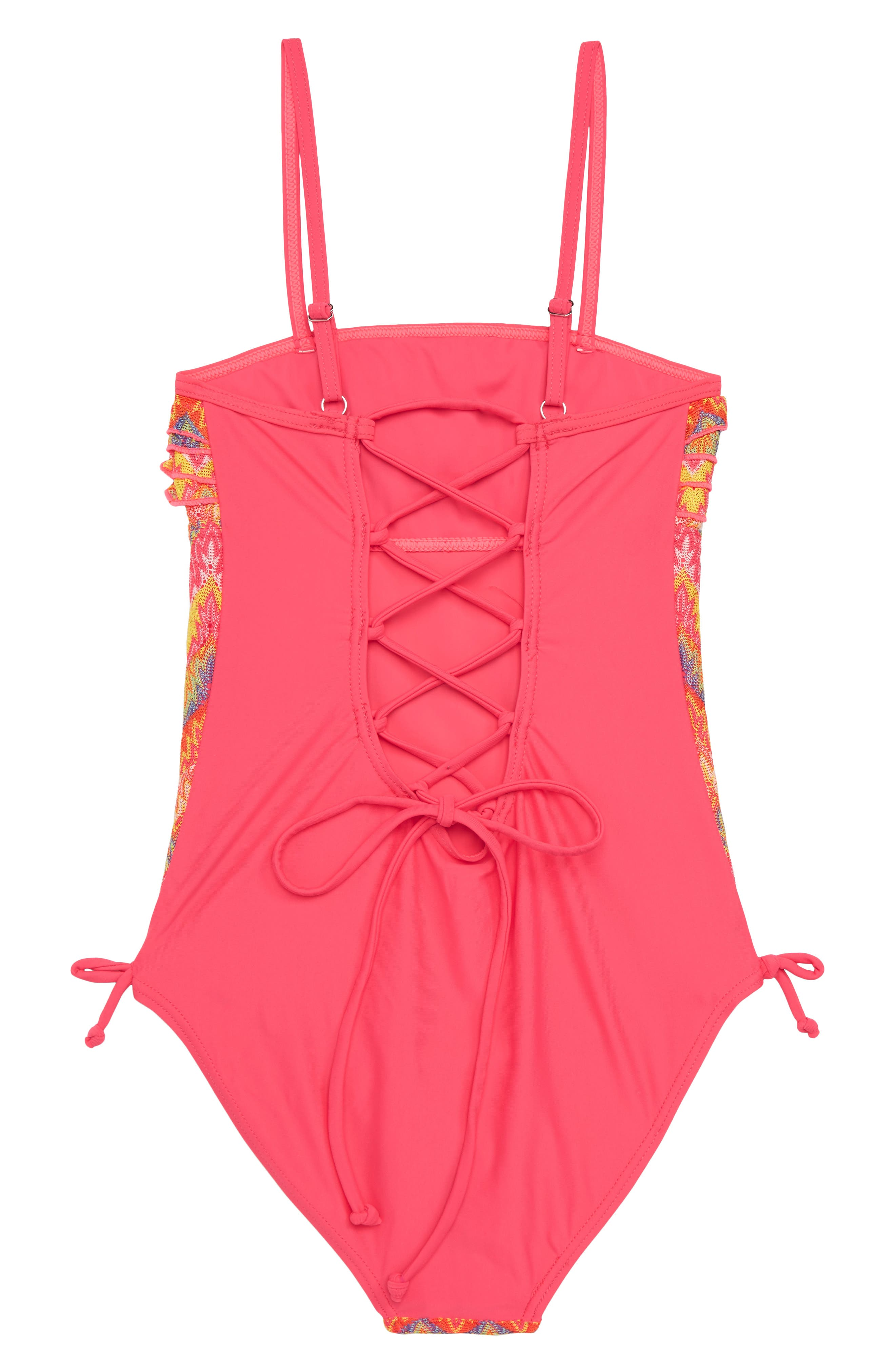 Flame Stitch Ruffle One-Piece Swimsuit,                             Alternate thumbnail 3, color,                             Pink Combo