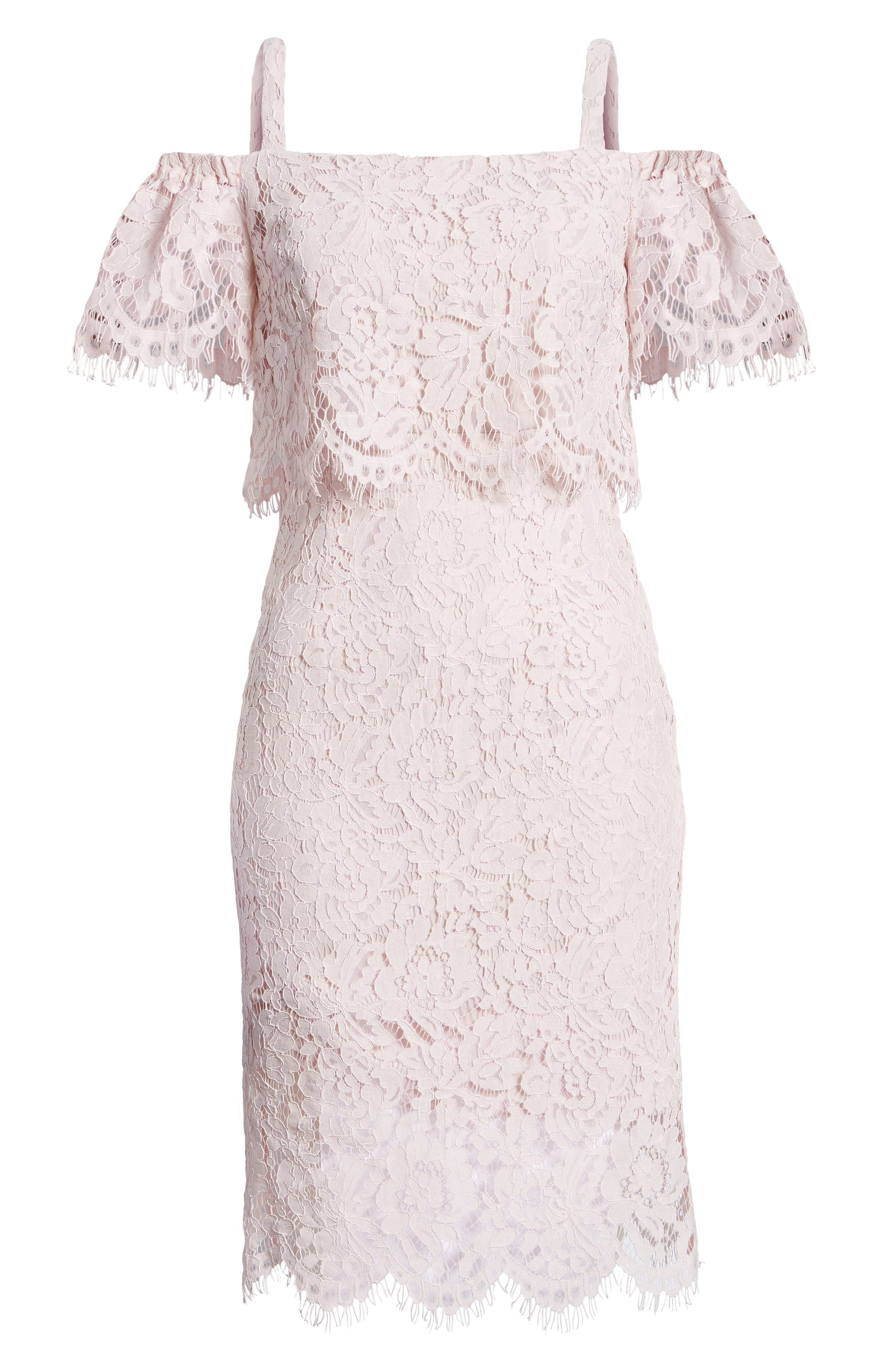 Popover Lace Dress,                             Alternate thumbnail 7, color,                             Pale Pink