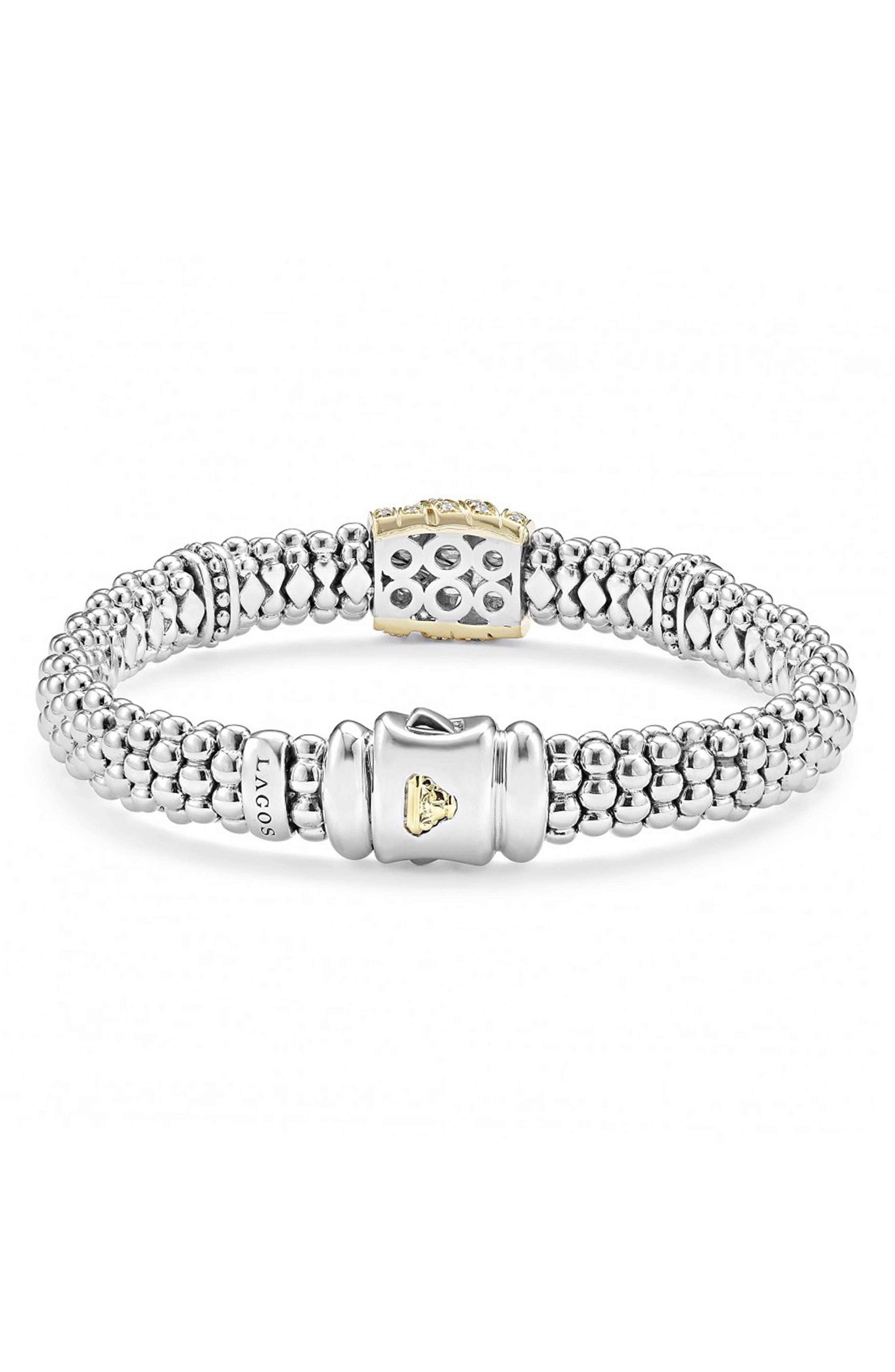 'Diamonds & Caviar' Diamond Rope Bracelet,                             Alternate thumbnail 3, color,                             Sterling Silver/ Gold
