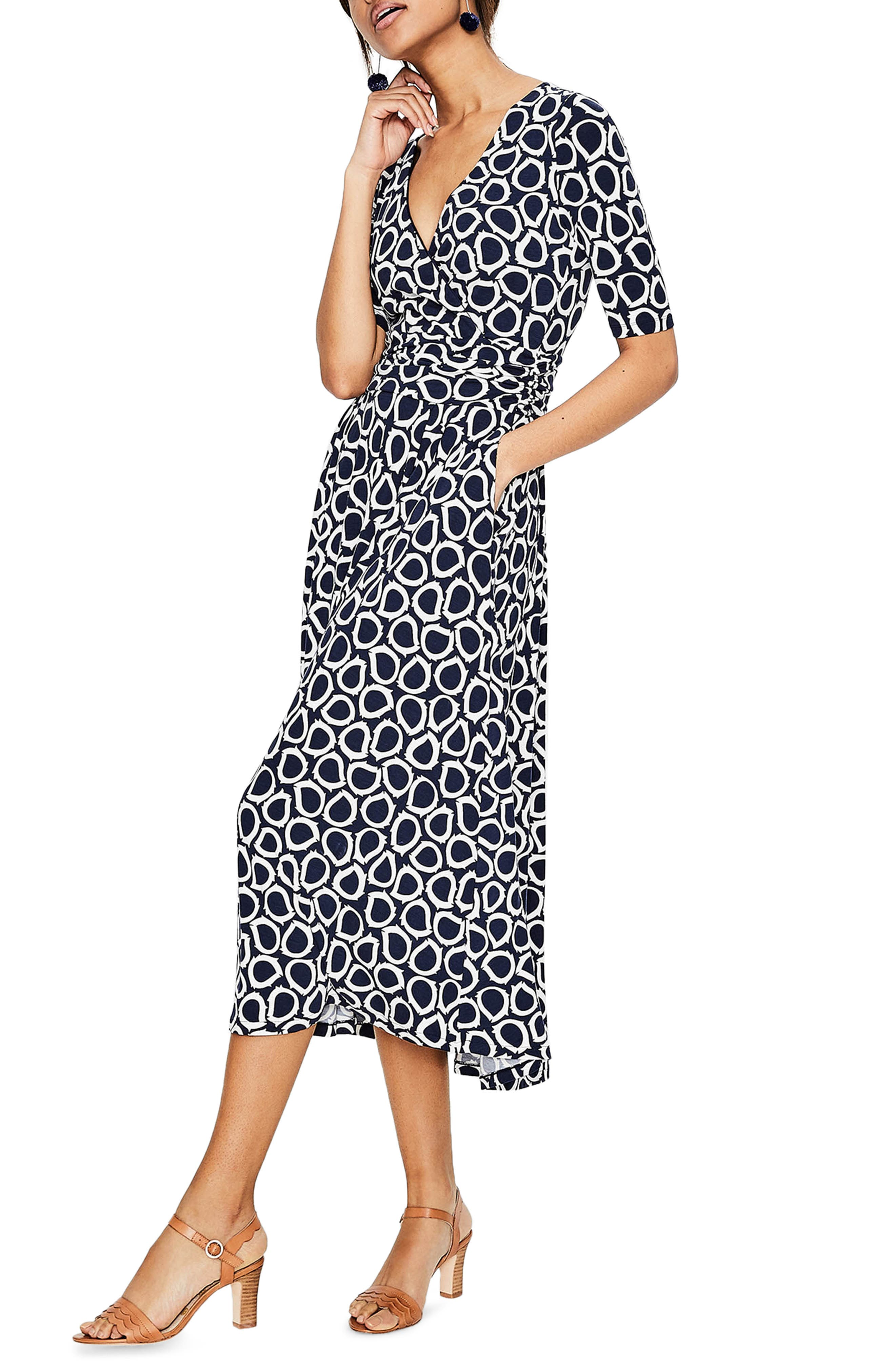 Kassidy Print Jersey Midi Dress,                         Main,                         color, Navy Summer Leaves