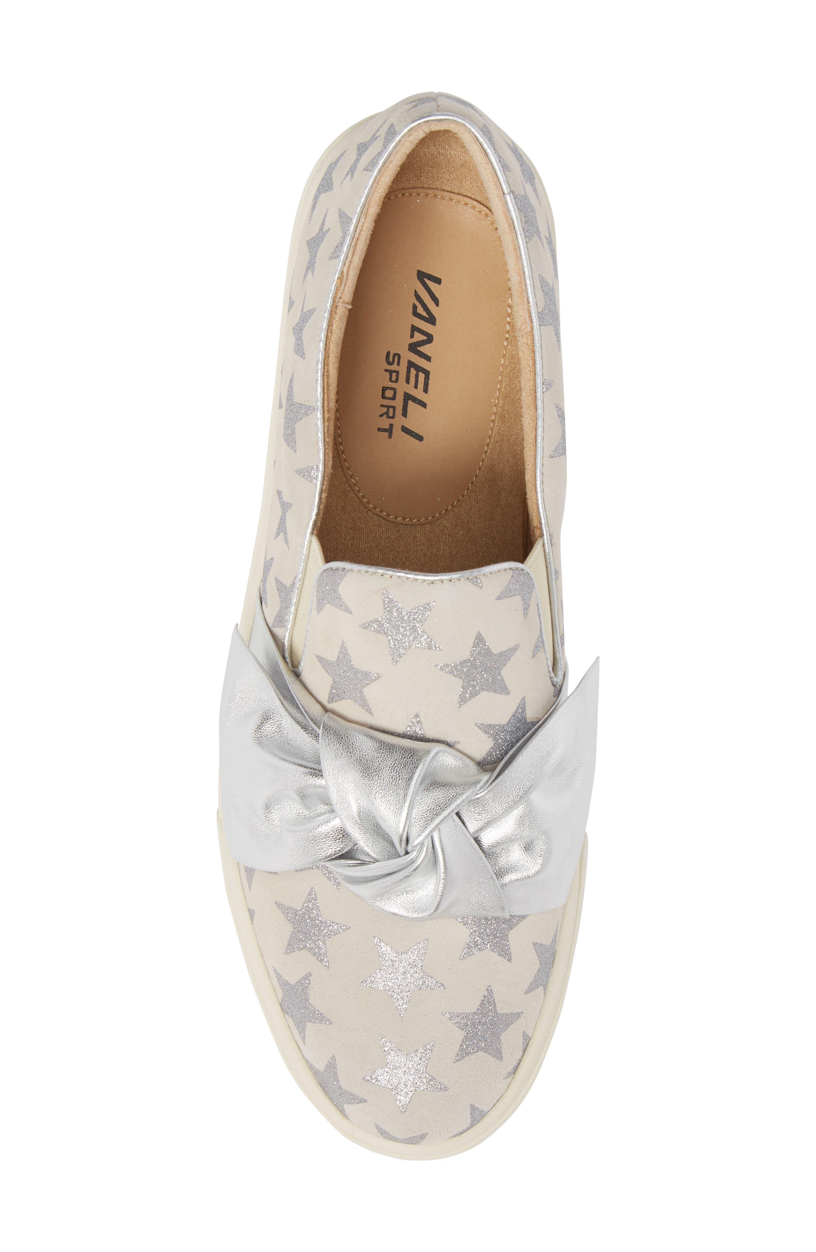 Odelet Slip-On Sneaker,                             Alternate thumbnail 5, color,                             Beige/ Silver Suede