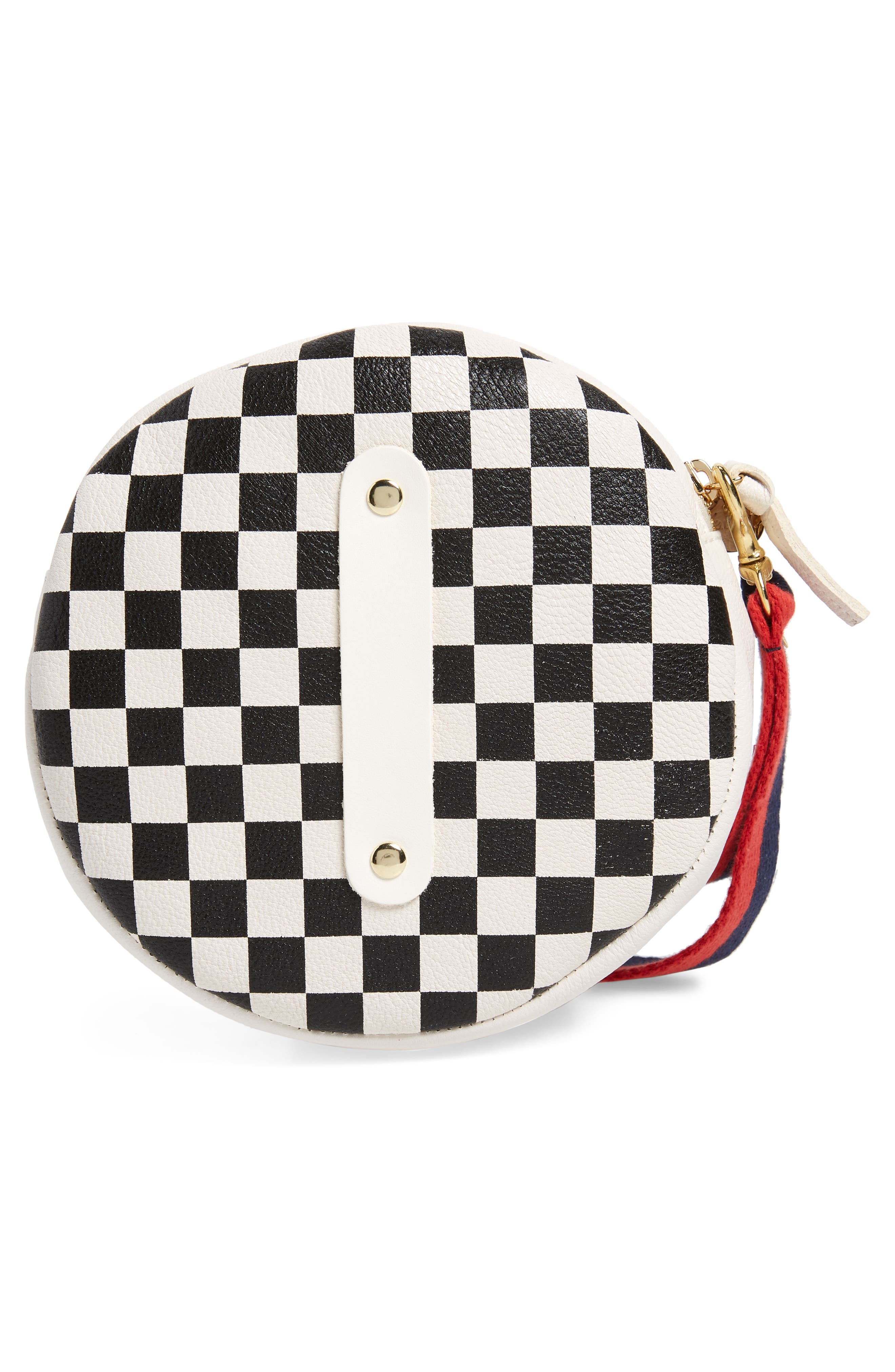 Checkered Leather Circle Clutch,                             Alternate thumbnail 3, color,                             Cream/ Black Checker