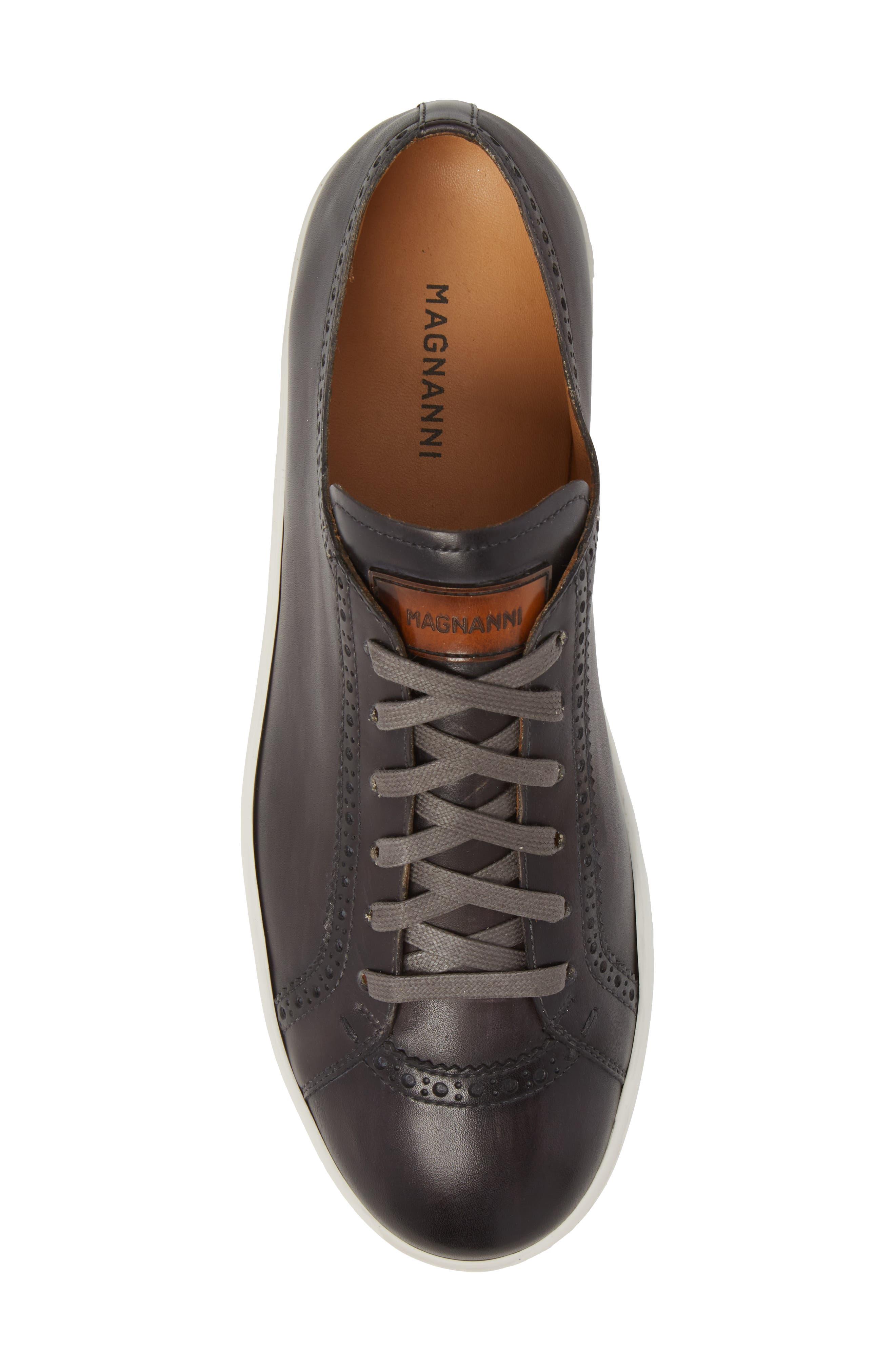 Juniper Brogued Low Top Sneaker,                             Alternate thumbnail 5, color,                             Grey Leather