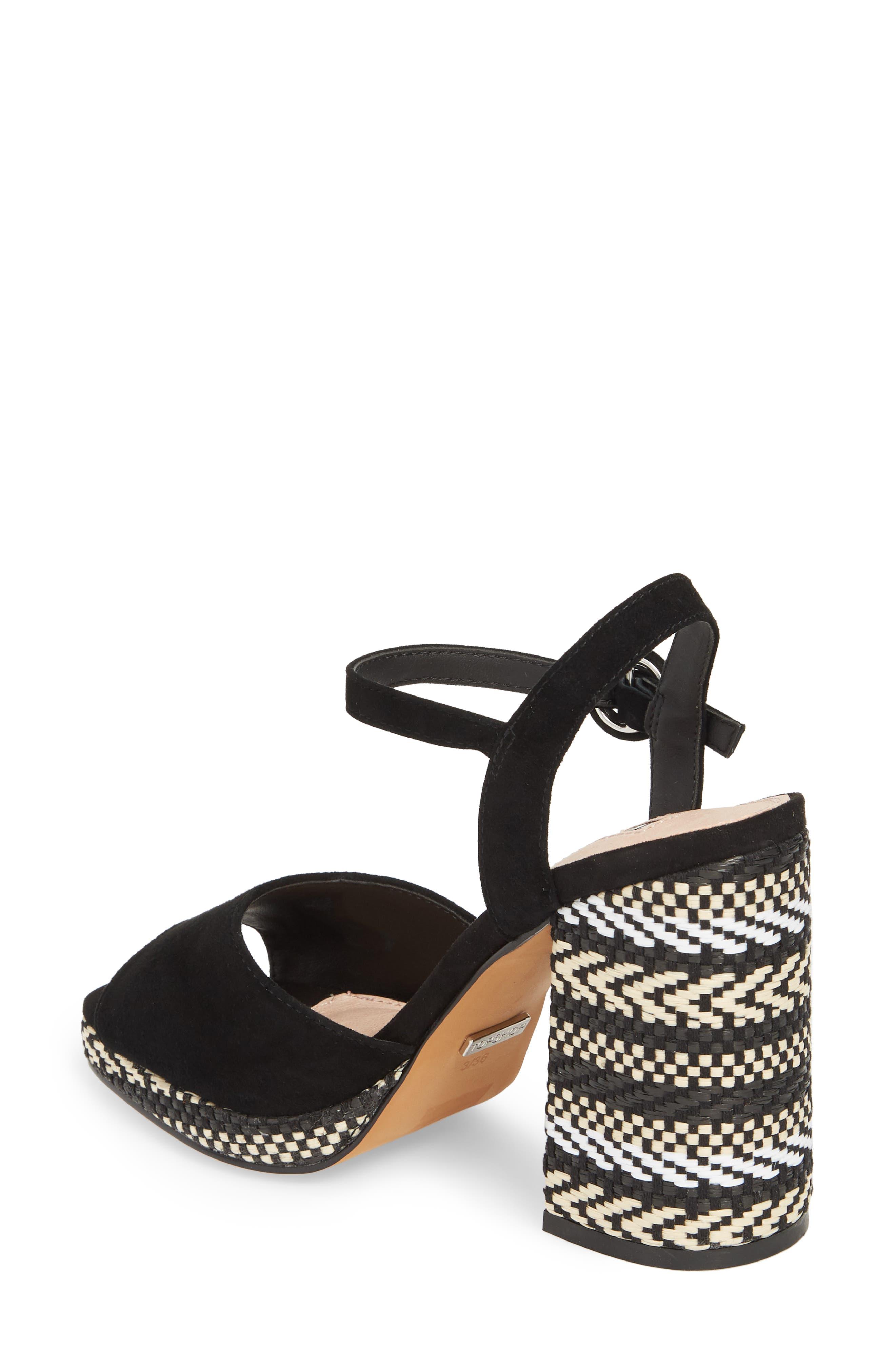 Laura Woven Block Heel Sandal,                             Alternate thumbnail 2, color,                             Black Multi