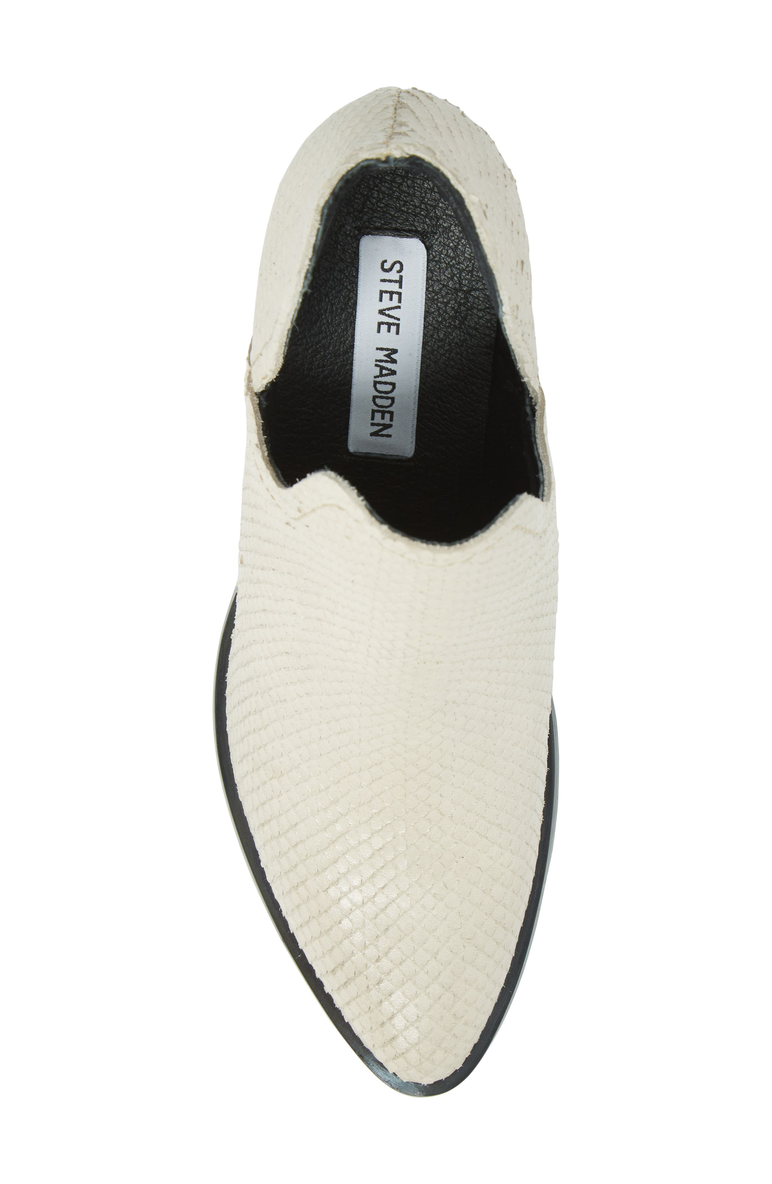 Petra Open Side Bootie,                             Alternate thumbnail 5, color,                             White Snake Print