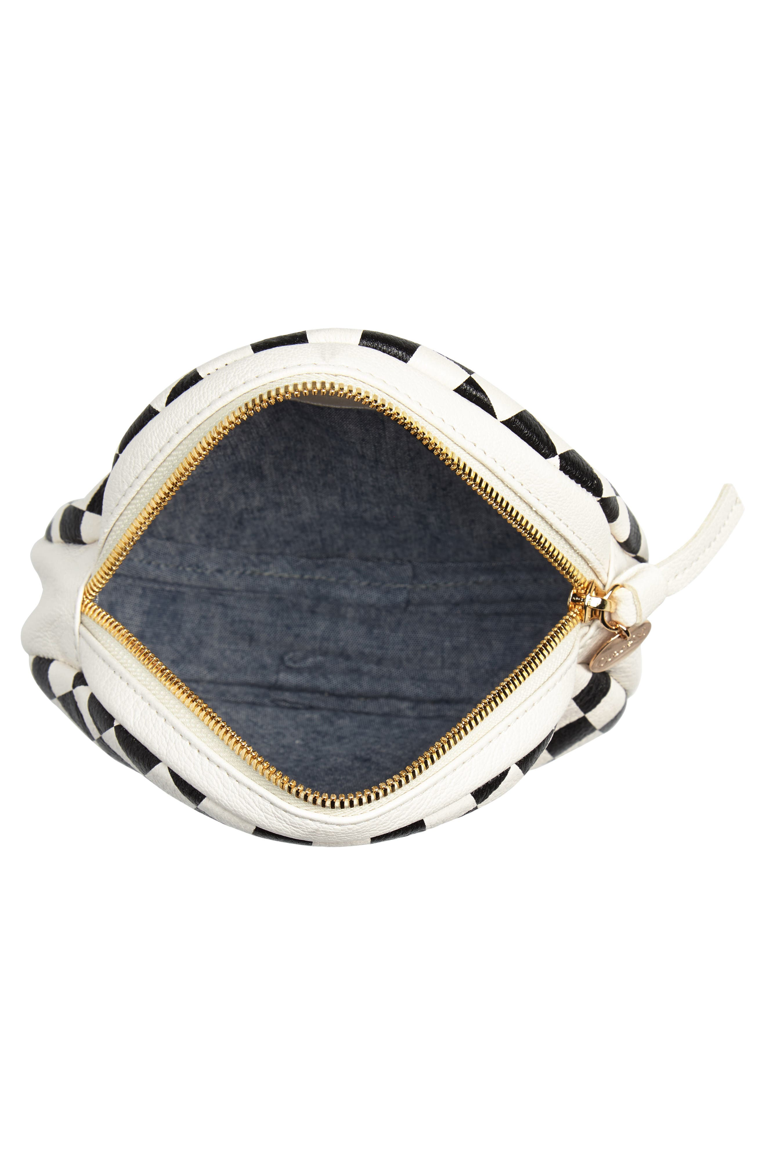 Checkered Leather Circle Clutch,                             Alternate thumbnail 4, color,                             Cream/ Black Checker