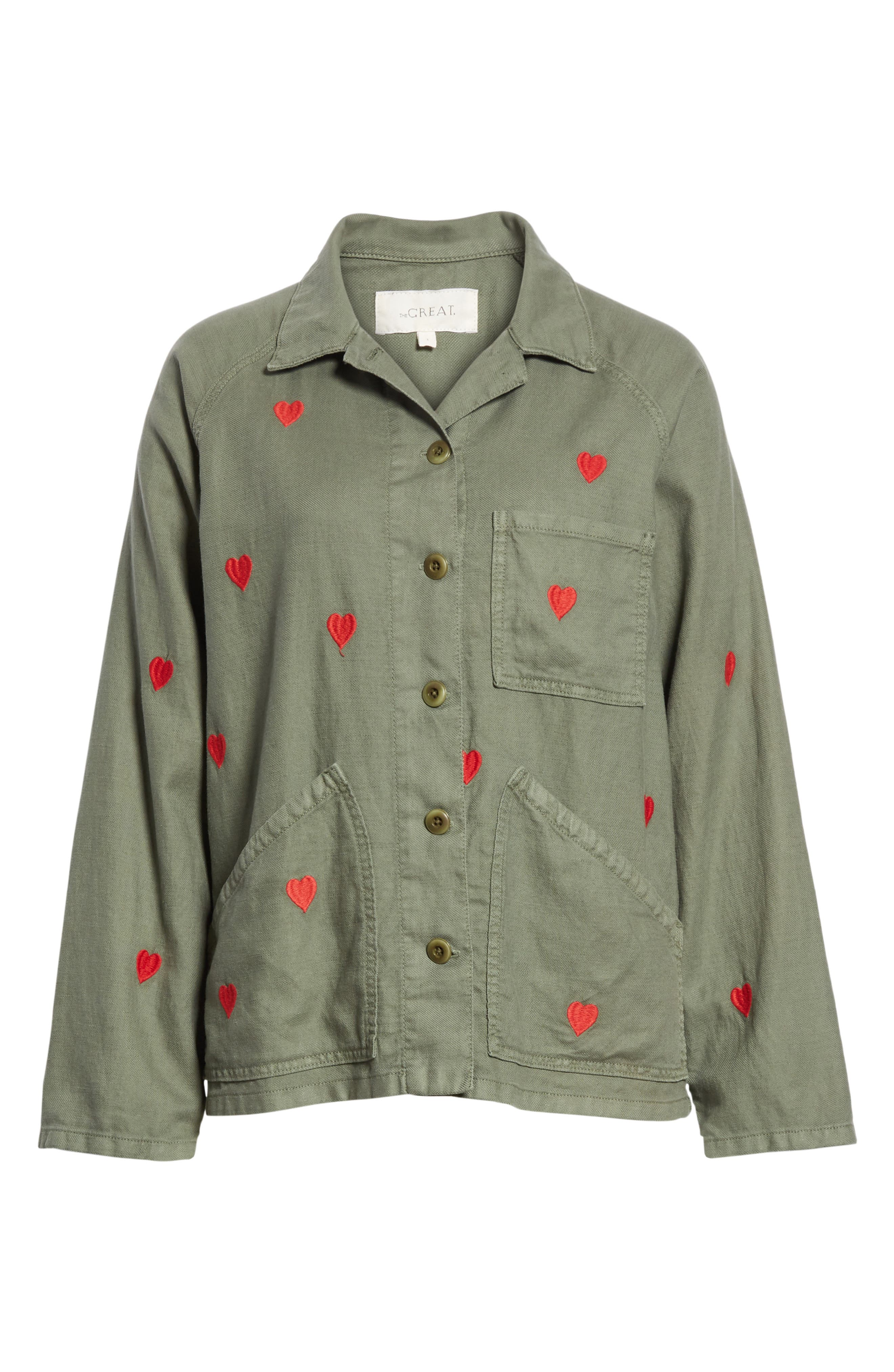 The Field Jacket,                             Alternate thumbnail 6, color,                             Moss Army/ Red Hearts