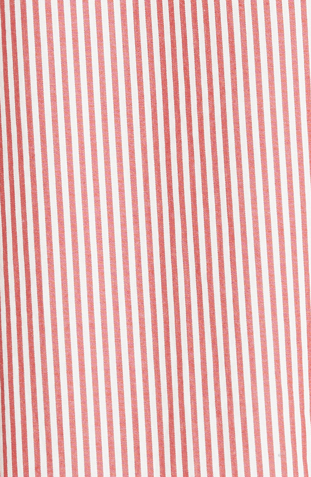 The Tie Sleeve Camper Shirtdress,                             Alternate thumbnail 5, color,                             Poppy Stripe