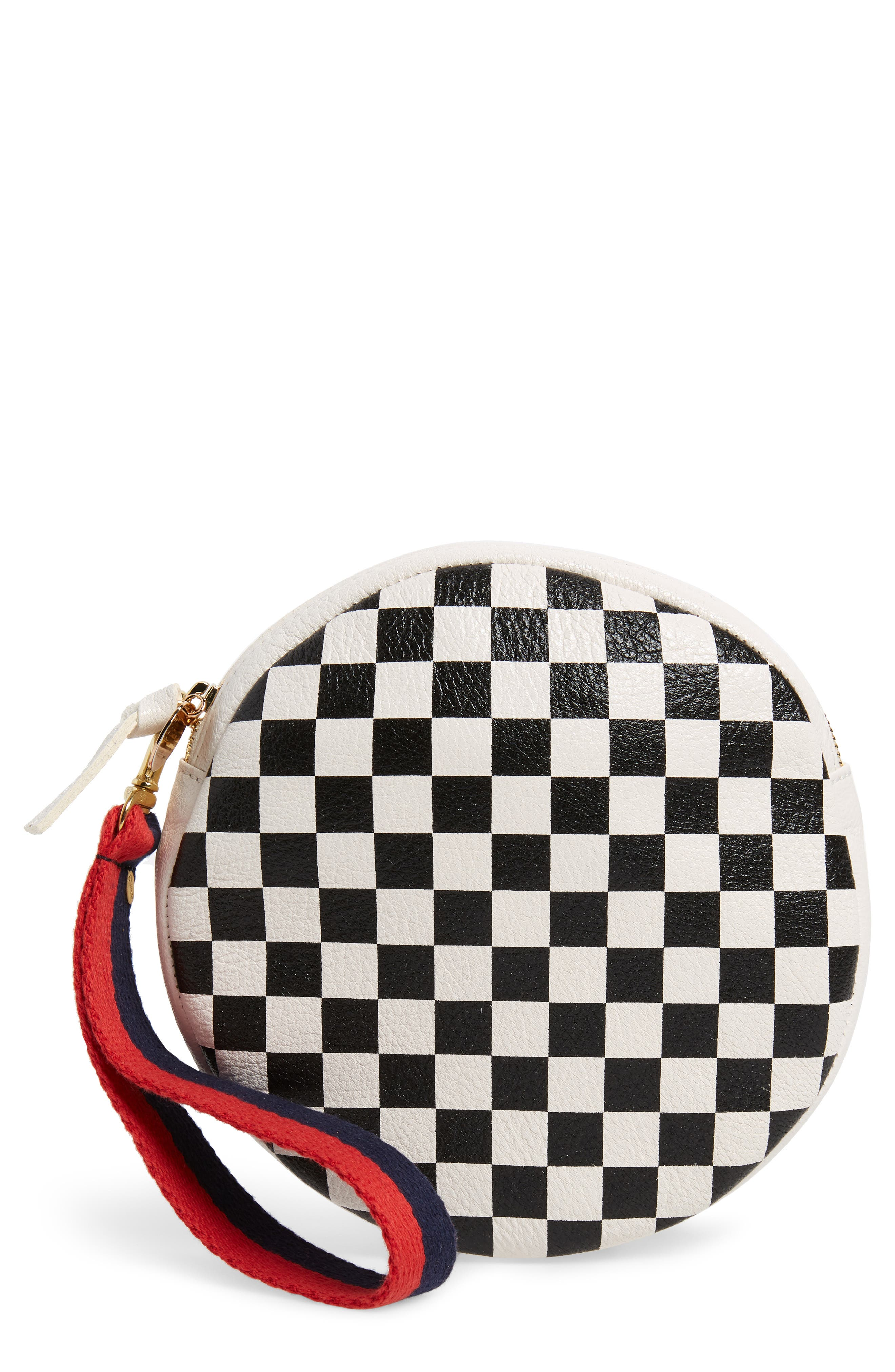 Checkered Leather Circle Clutch,                             Main thumbnail 1, color,                             Cream/ Black Checker