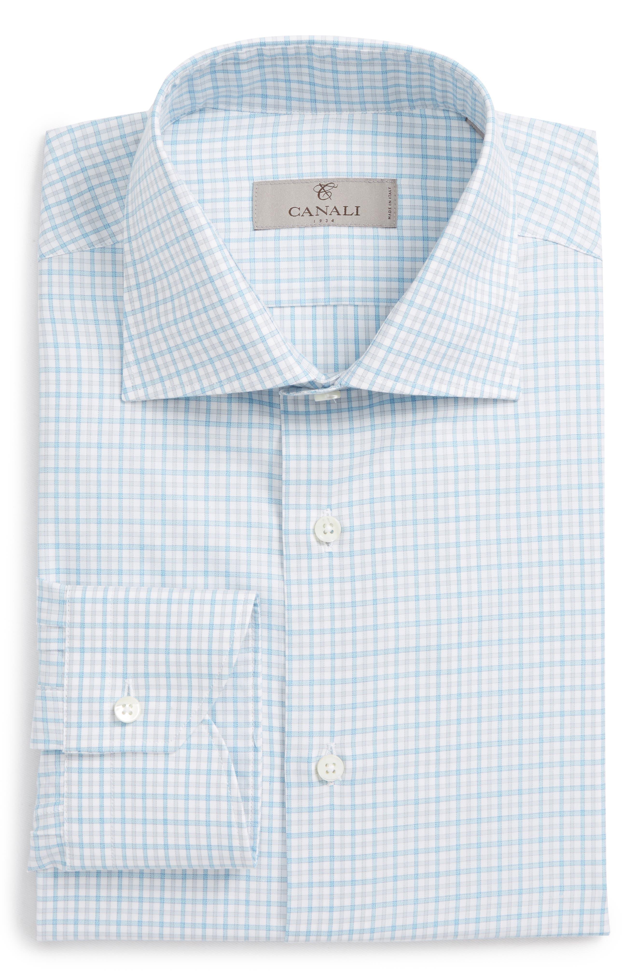 Regular Fit Check Dress Shirt,                             Alternate thumbnail 6, color,                             Turquoise