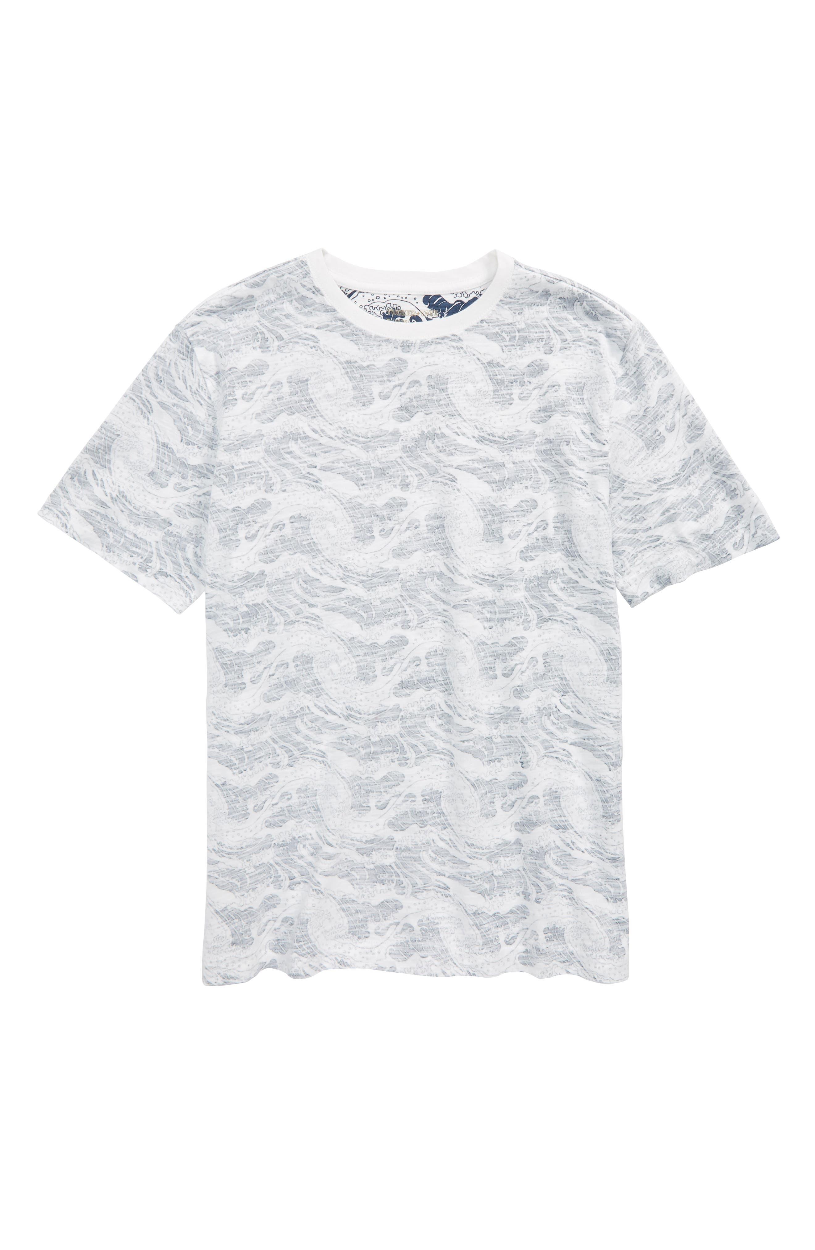 Palm Print T-Shirt,                             Main thumbnail 1, color,                             White- Navy Wave