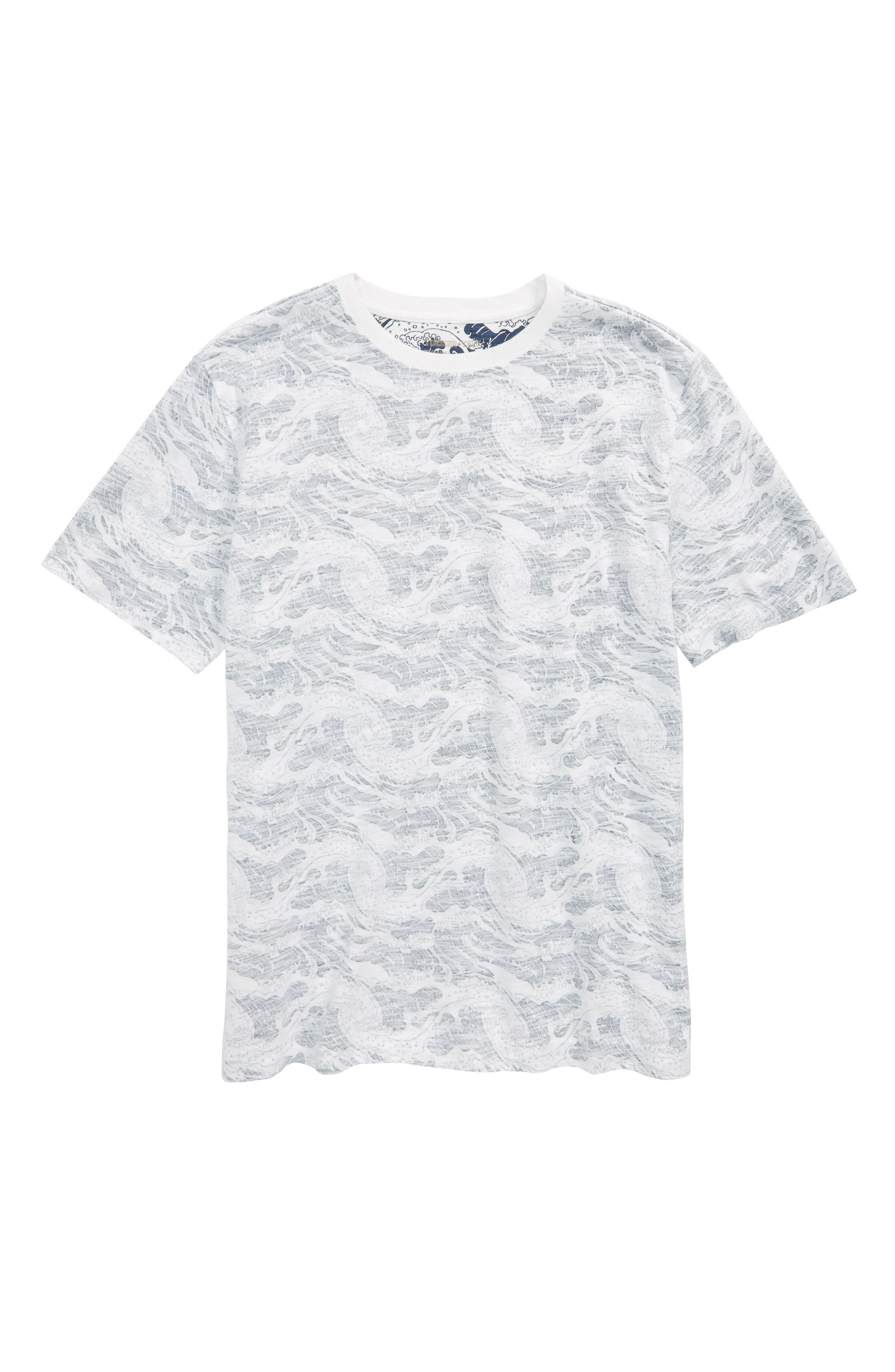 Palm Print T-Shirt,                         Main,                         color, White- Navy Wave