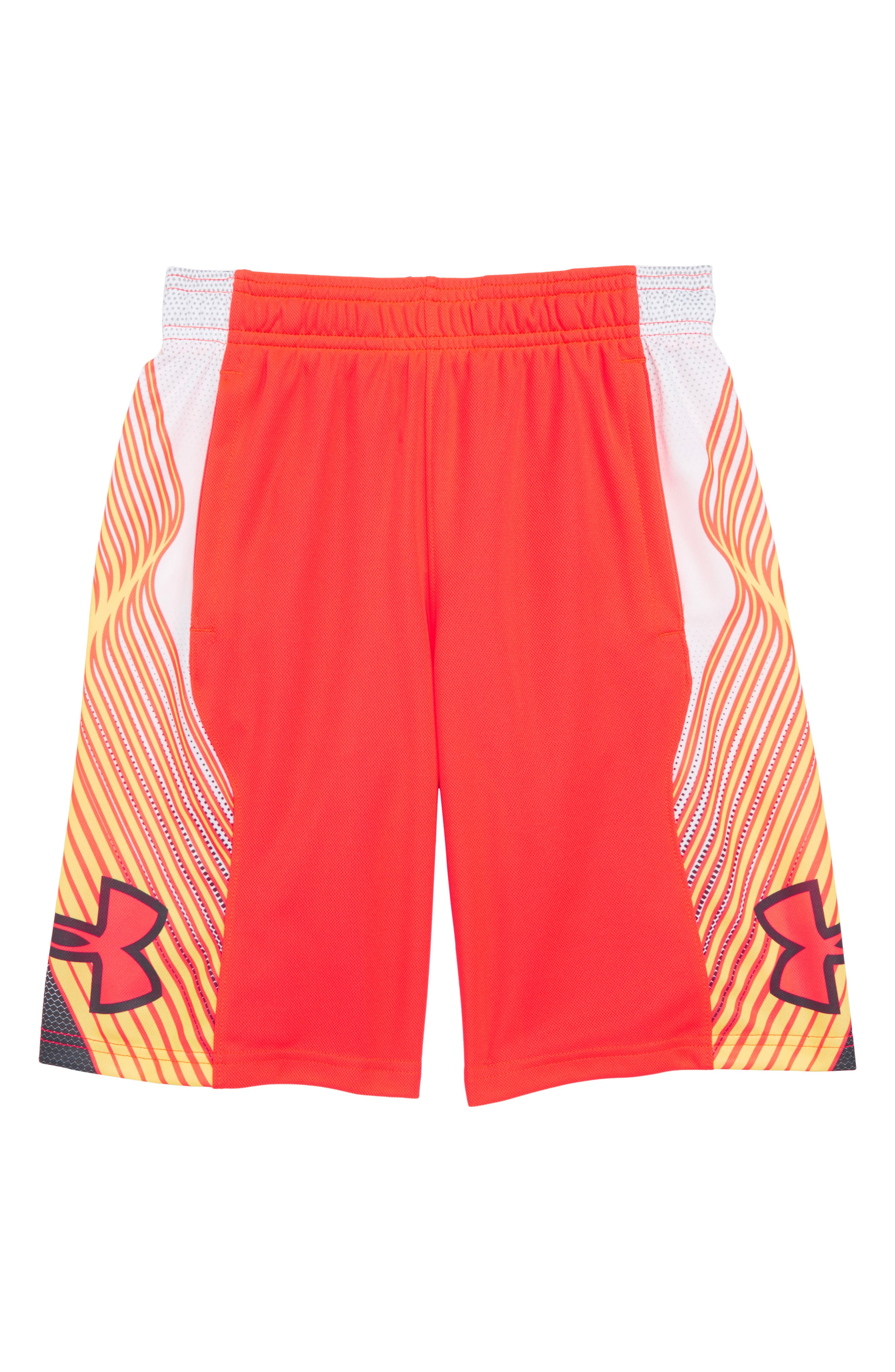 Space the Floor HeatGear<sup>®</sup> Shorts,                         Main,                         color, Neon Coral/ Stealth Gray