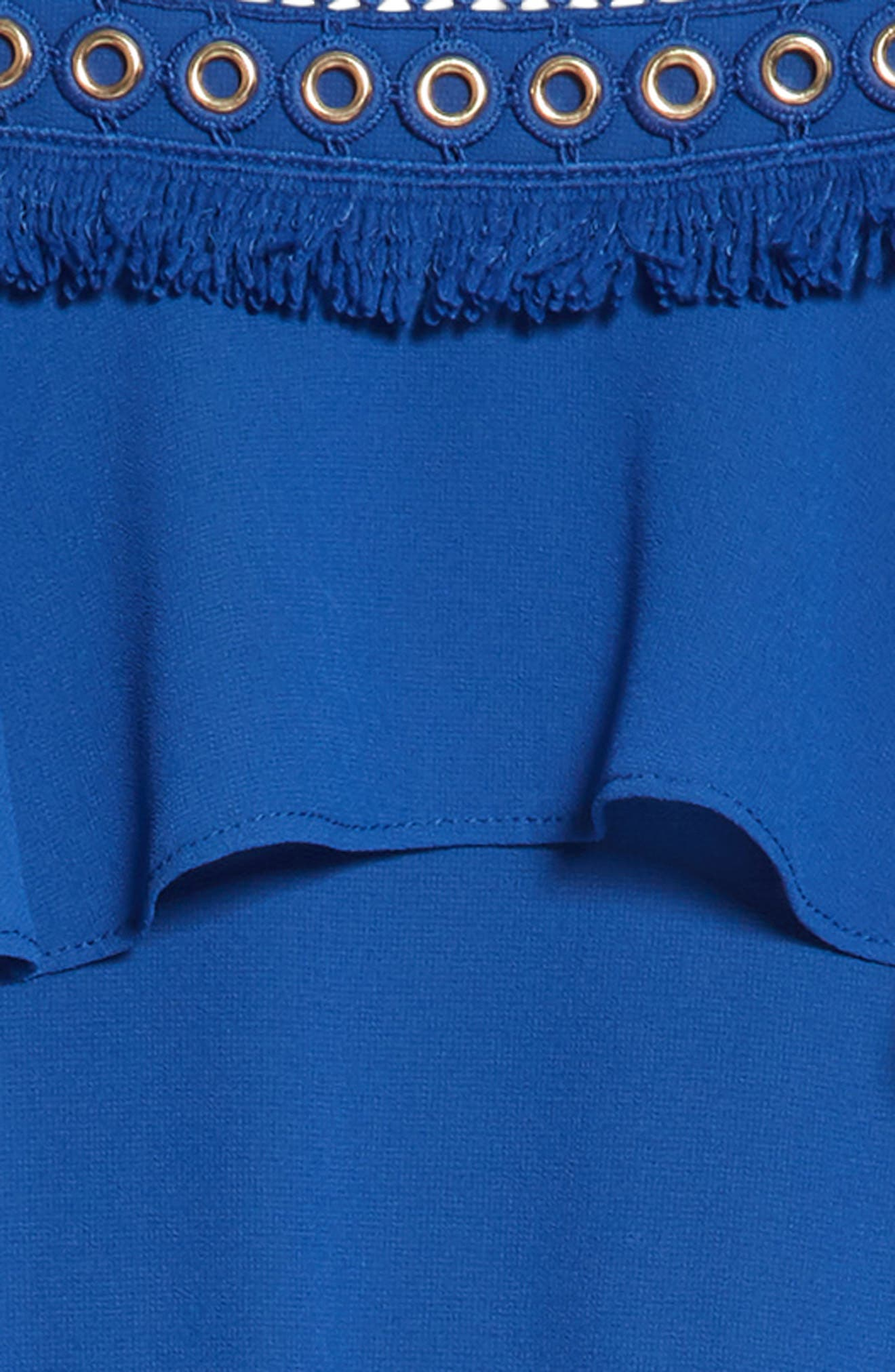Ruffle Cold Shoulder Dress,                             Alternate thumbnail 3, color,                             Olimpo Blue