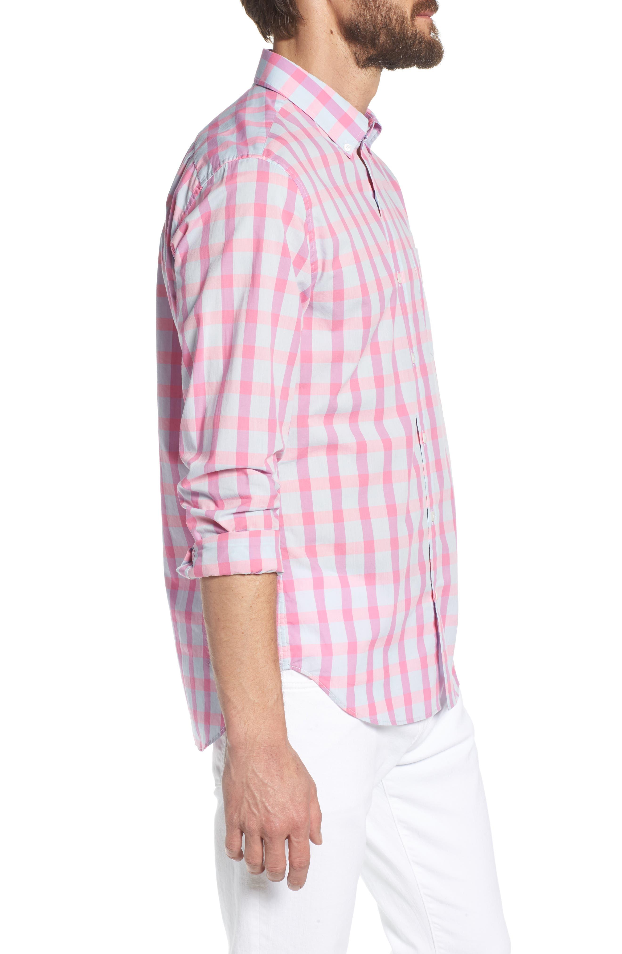 Summerweight Slim Fit Check Sport Shirt,                             Alternate thumbnail 4, color,                             Harris Check - Pink Rocket