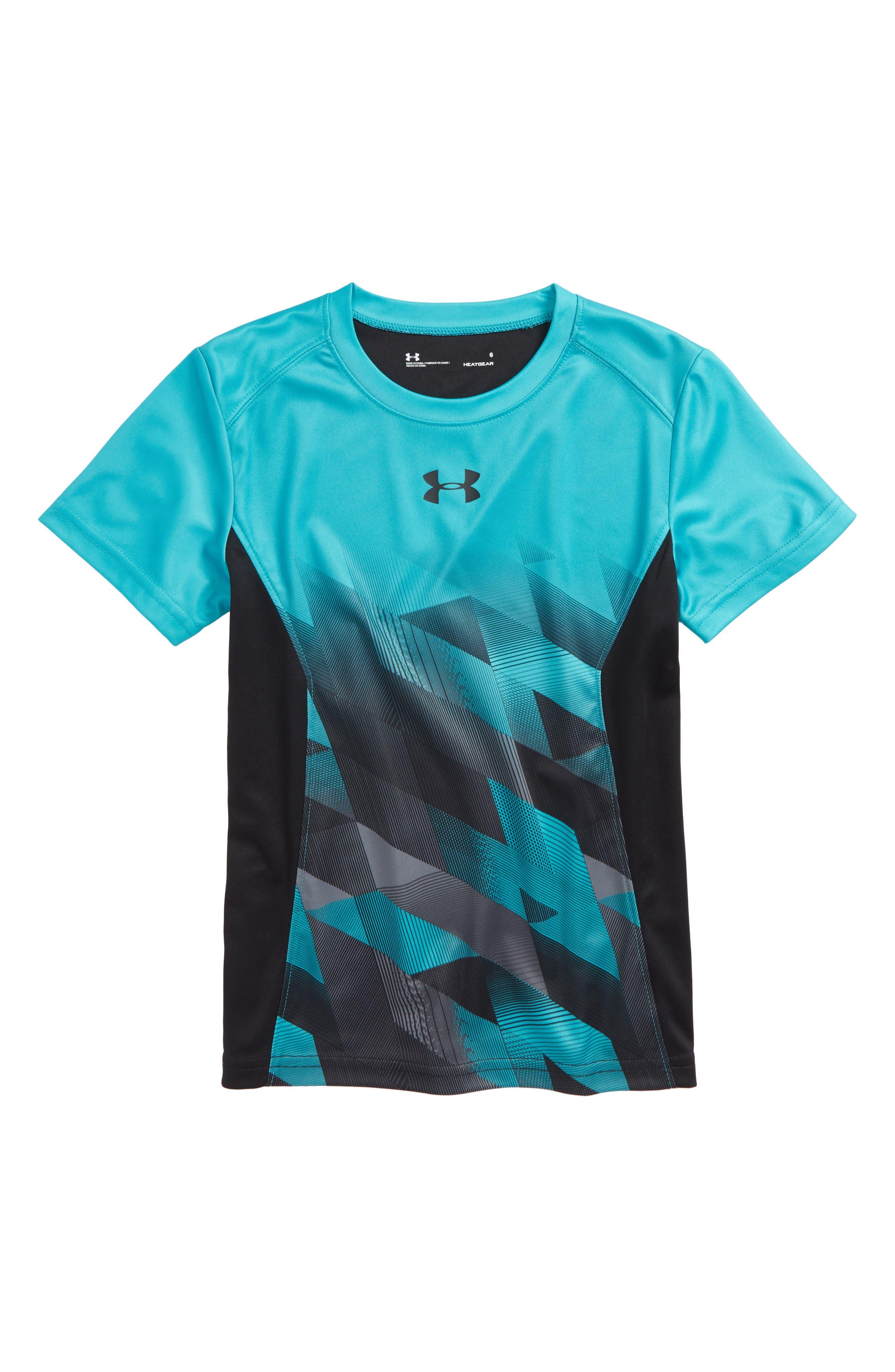 Electric Field HeatGear<sup>®</sup> Shirt,                             Main thumbnail 1, color,                             Teal Punch