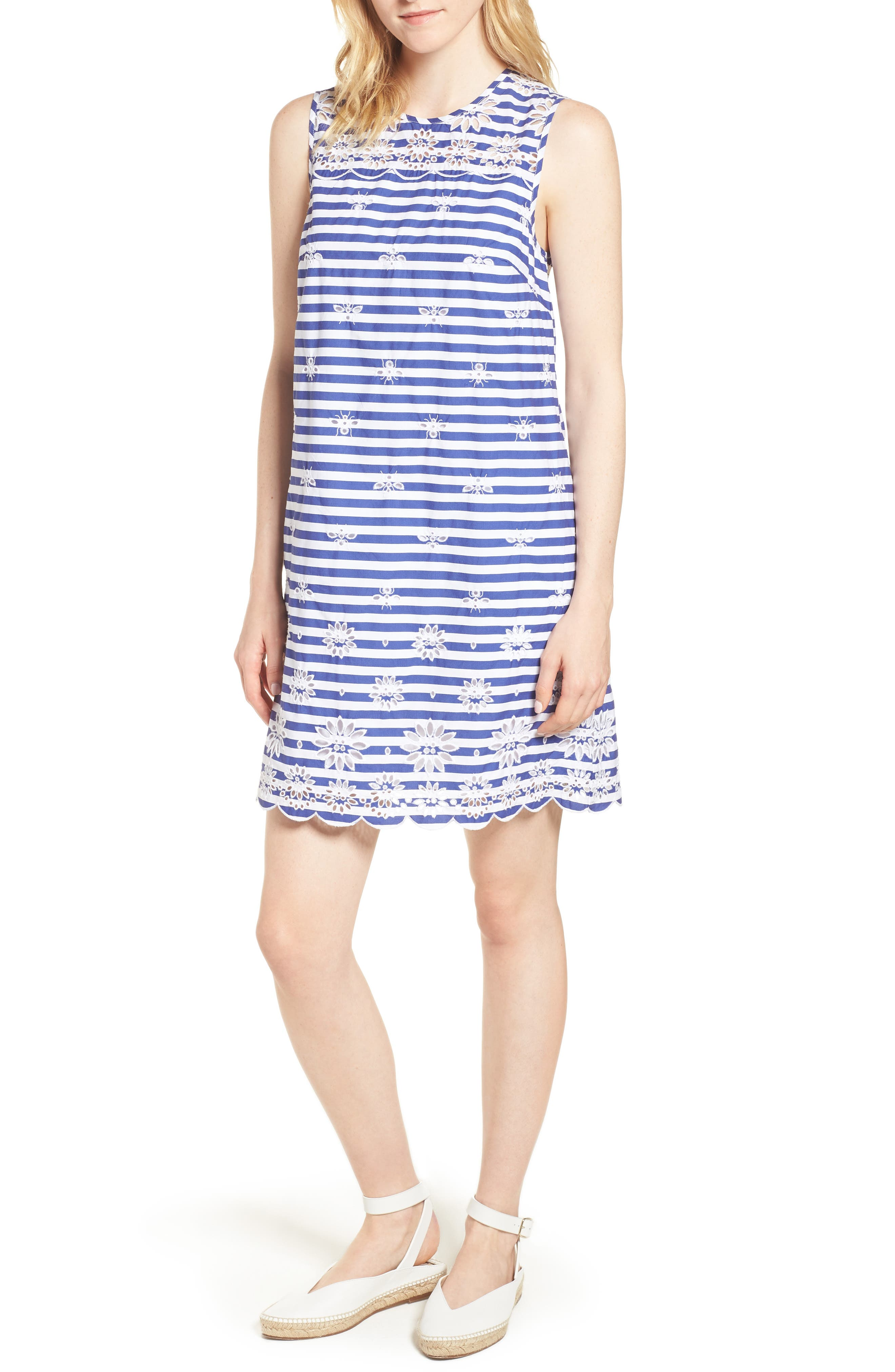 J.Crew Dante Embroidered Stripe Dress,                         Main,                         color, Blue
