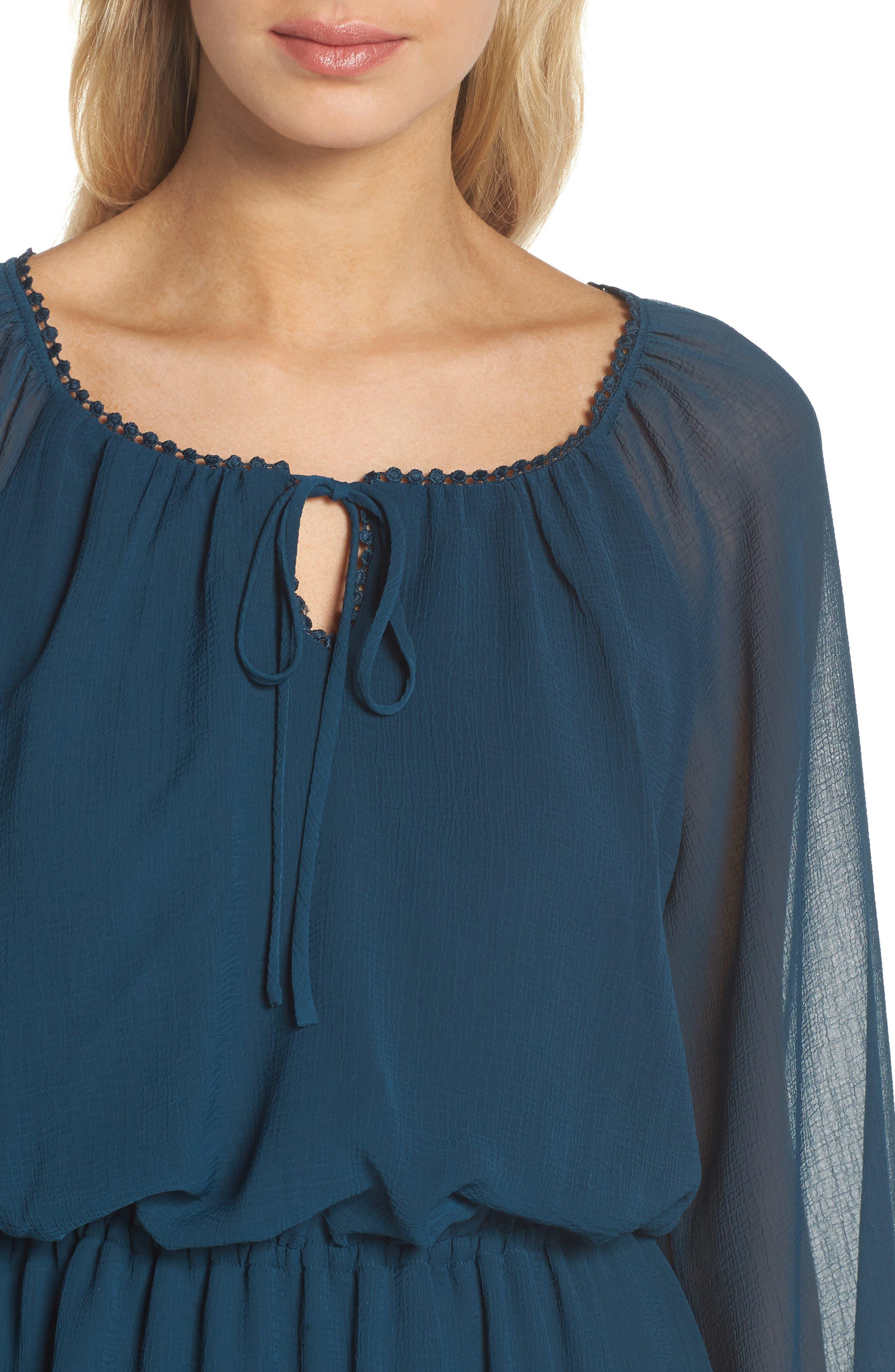 Bishop Sleeve Blouson Dress,                             Alternate thumbnail 4, color,                             Midnight Jungle