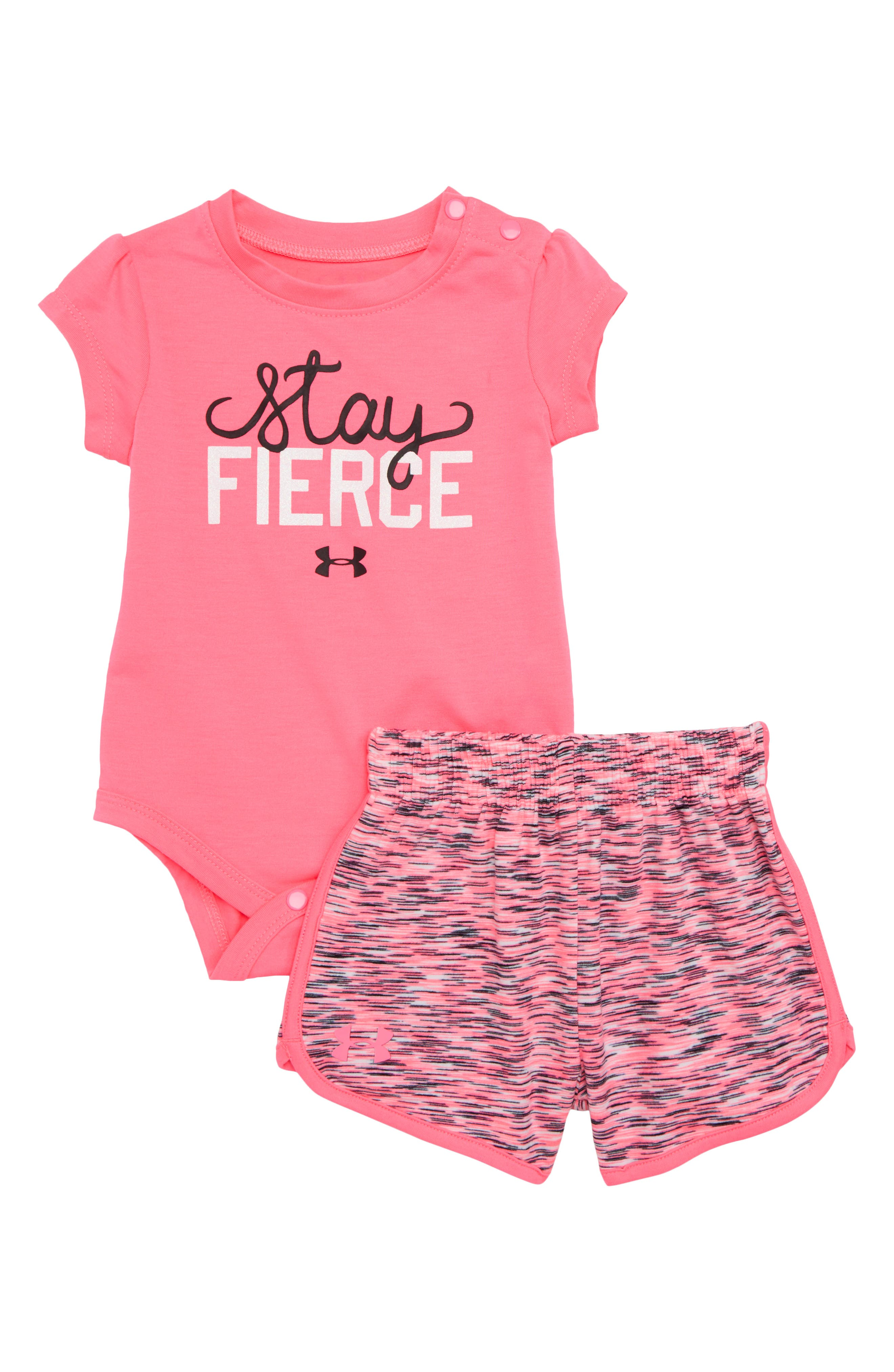 Stay Fierce Bodysuit & Shorts Set,                             Main thumbnail 1, color,                             Pink Punk