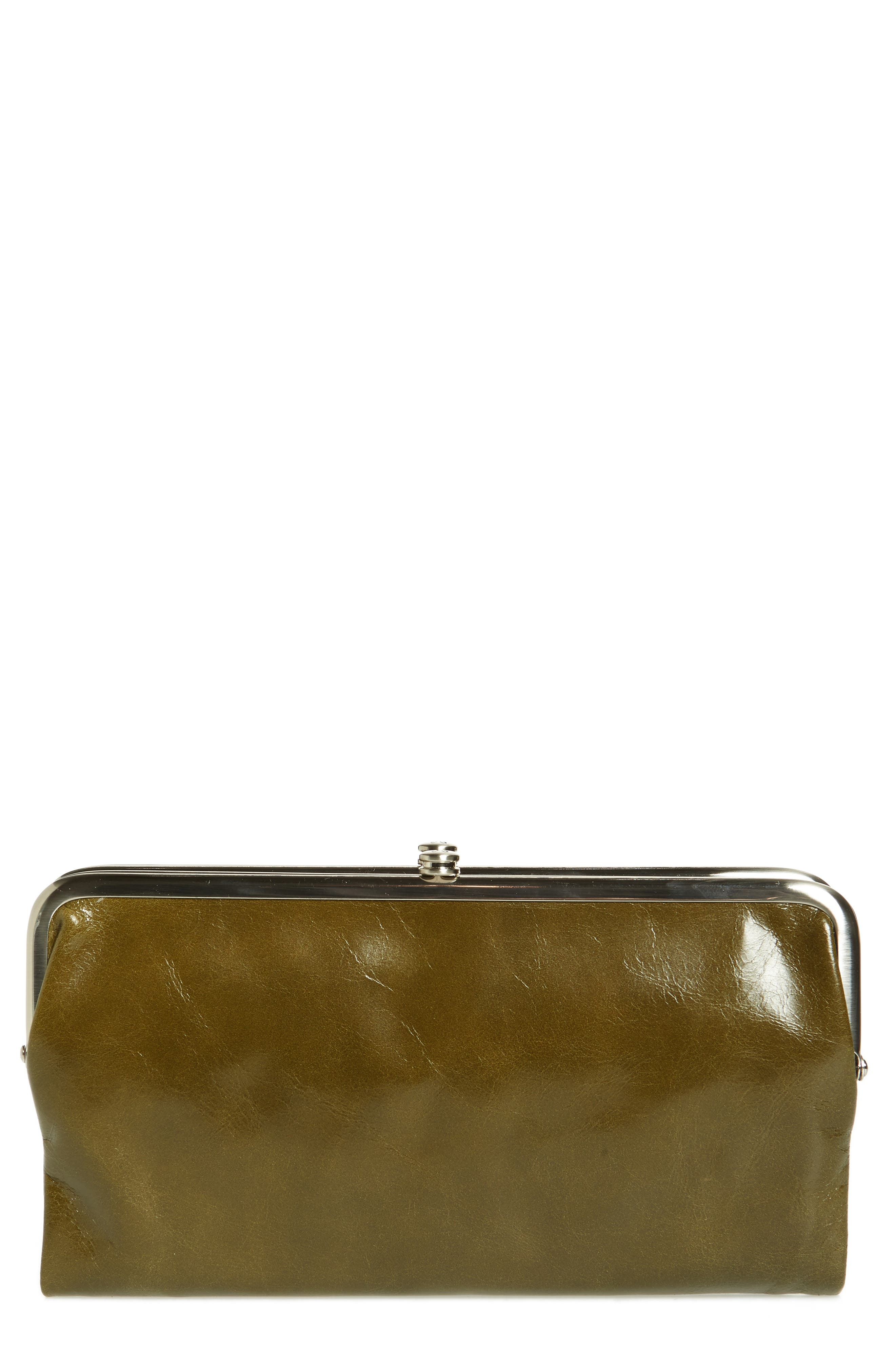 'Lauren' Leather Double Frame Clutch,                             Main thumbnail 1, color,                             Willow