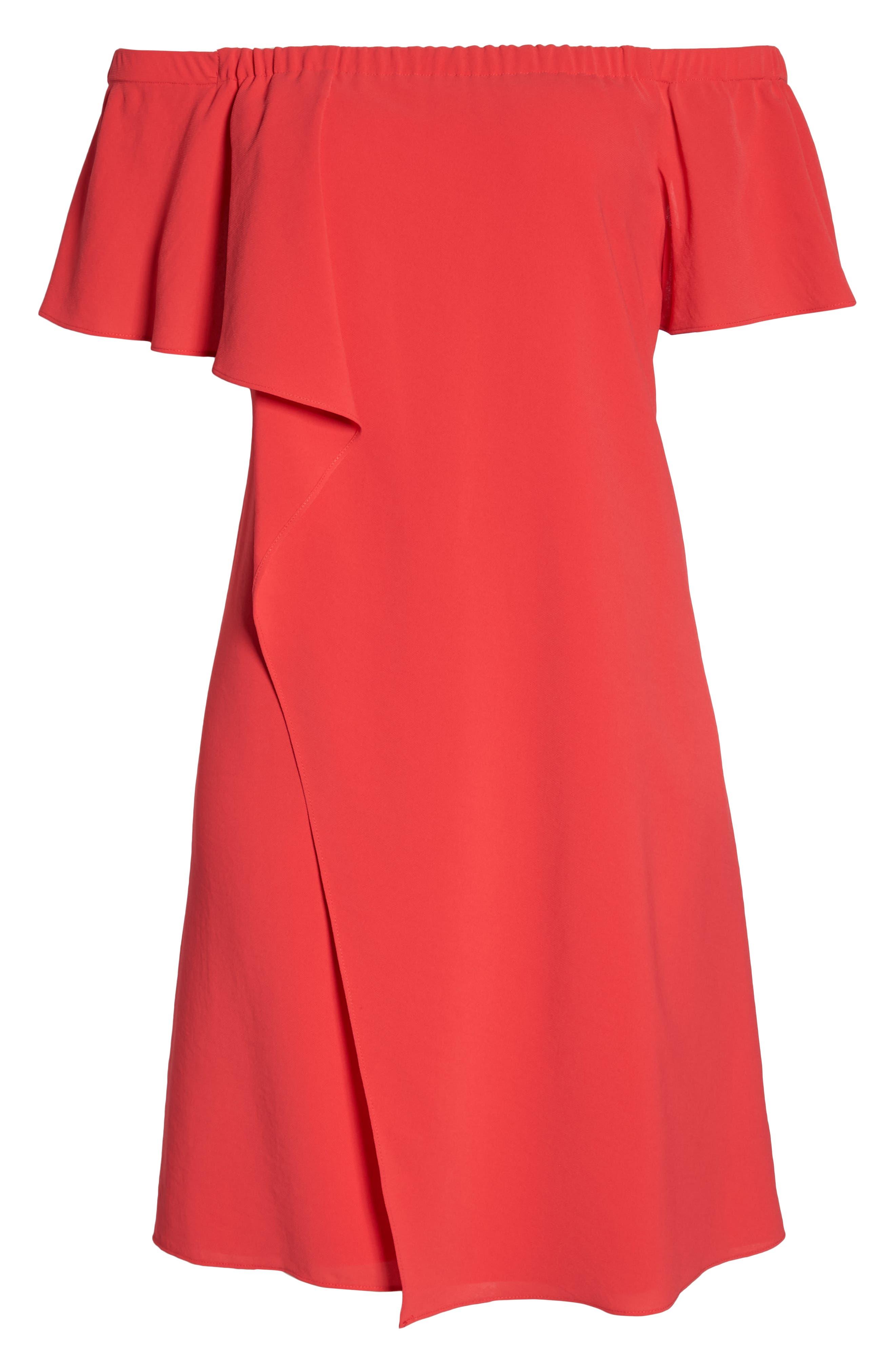 Off the Shoulder Crepe Dress,                             Alternate thumbnail 7, color,                             Geranium