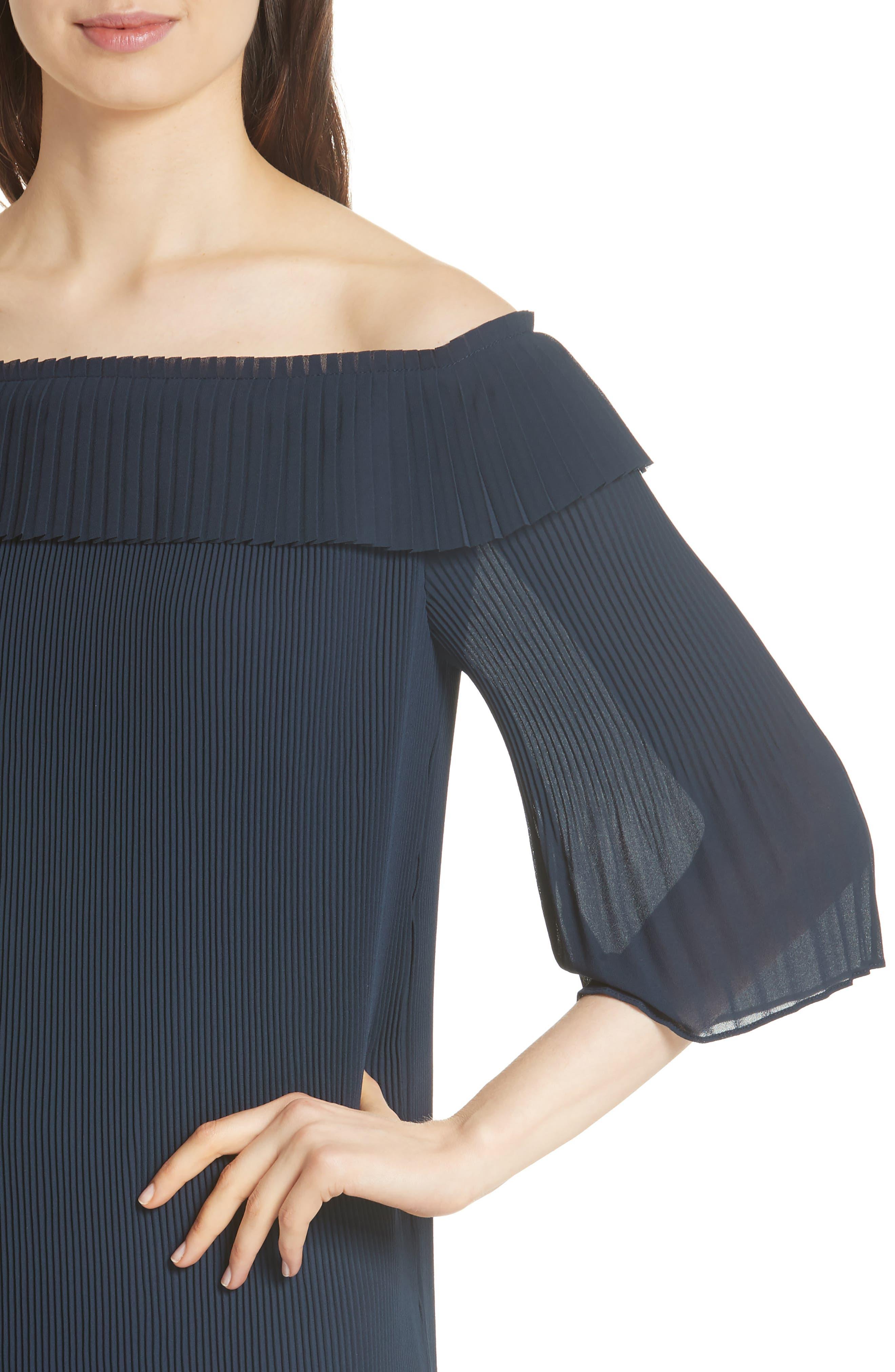Bardot Pleated Off the Shoulder Chiffon Minidress,                             Alternate thumbnail 4, color,                             Navy