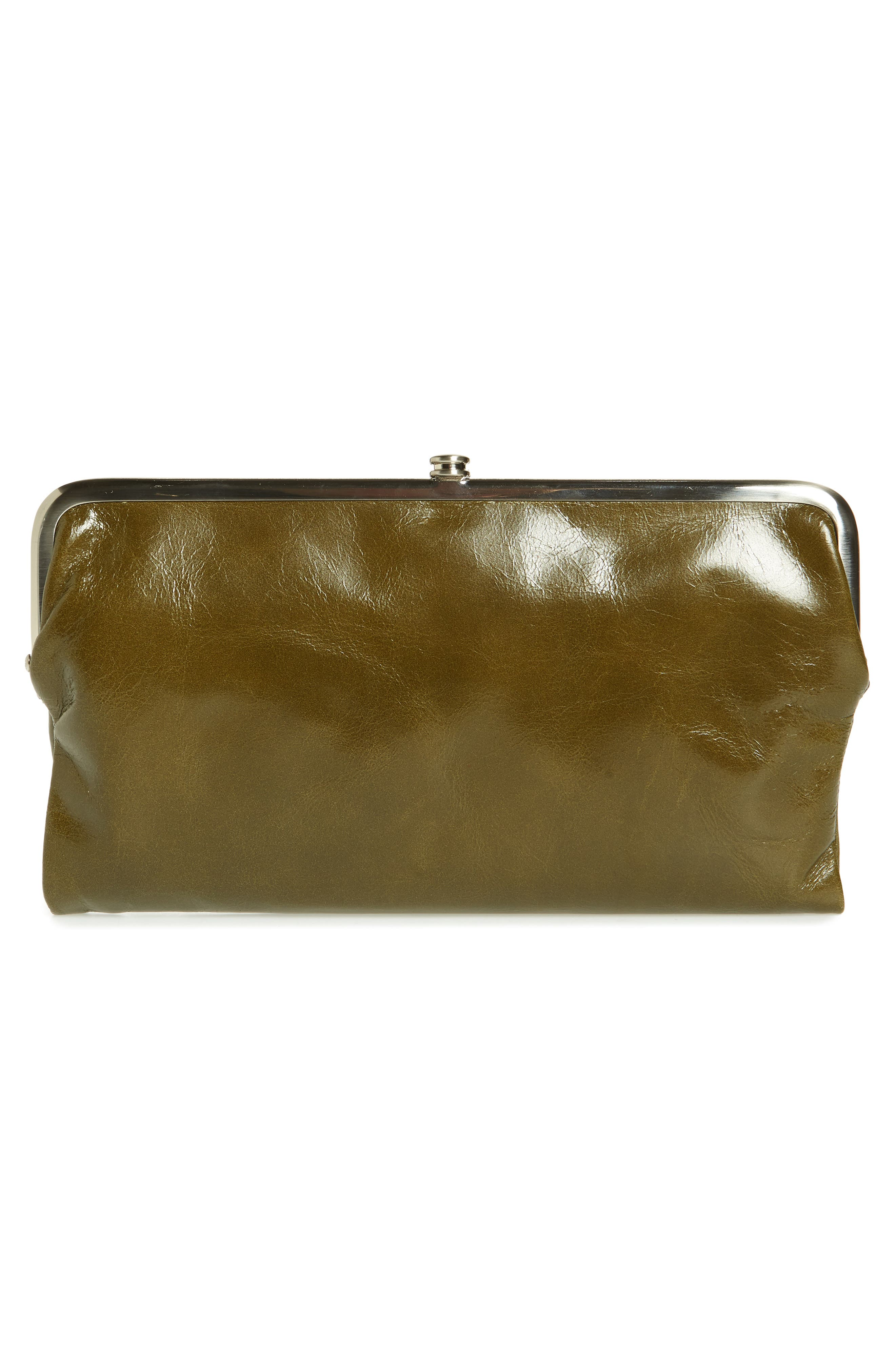 'Lauren' Leather Double Frame Clutch,                             Alternate thumbnail 4, color,                             Willow