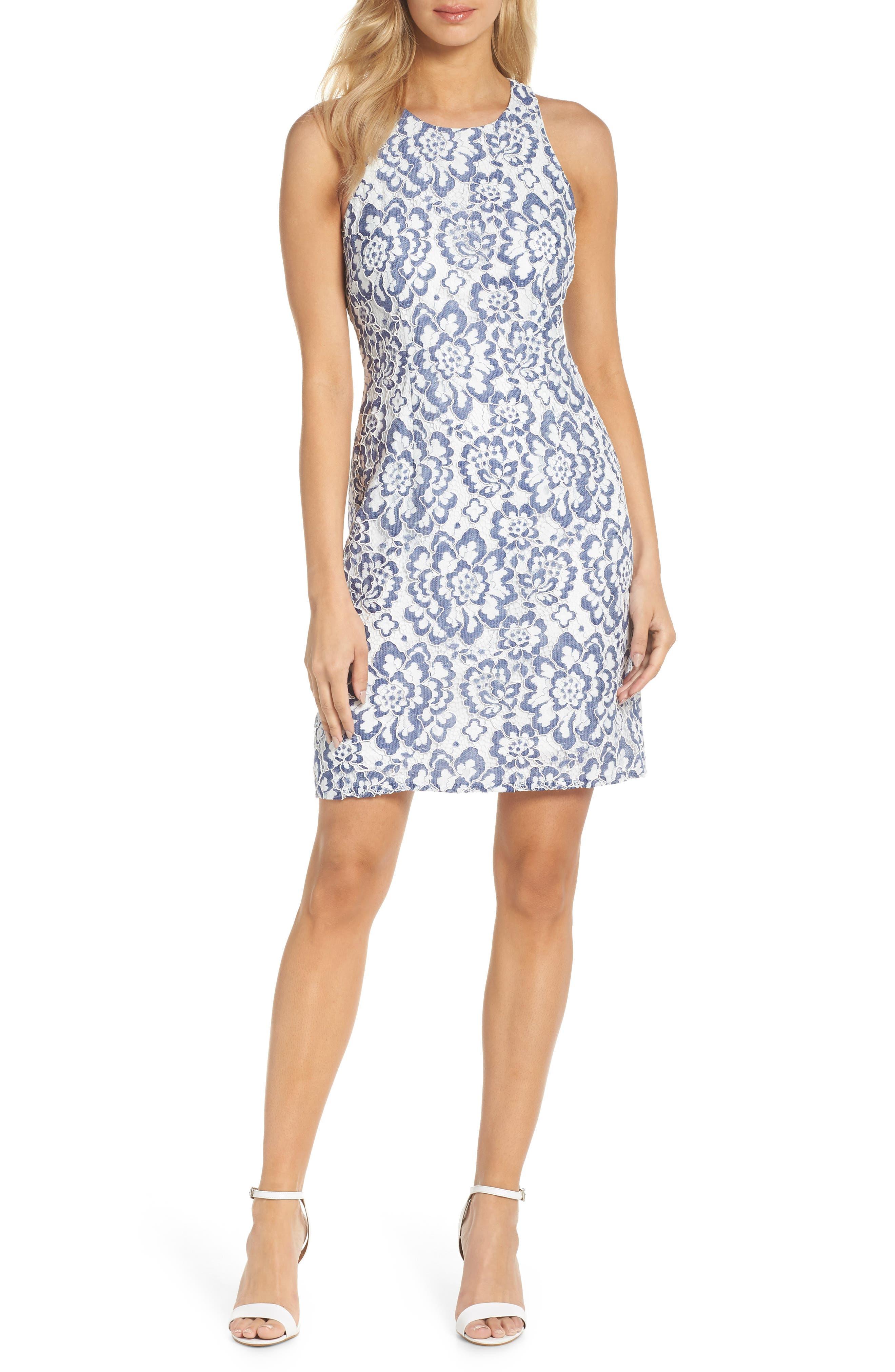 Elisa Two Tone Lace Sheath Dress,                             Main thumbnail 1, color,                             Blue/ White