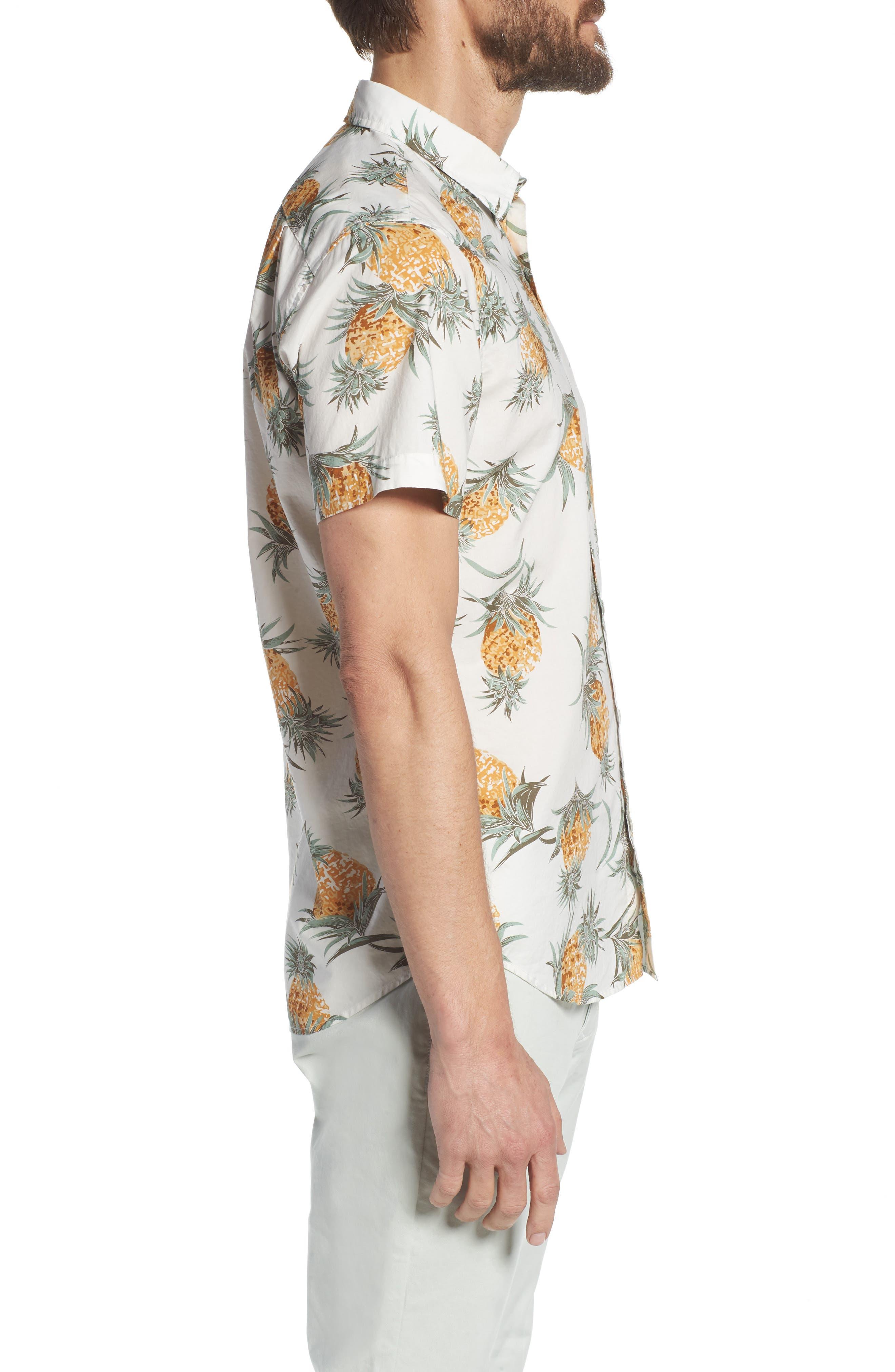 Slim Fit Print Sport Shirt,                             Alternate thumbnail 4, color,                             Pineapples - White