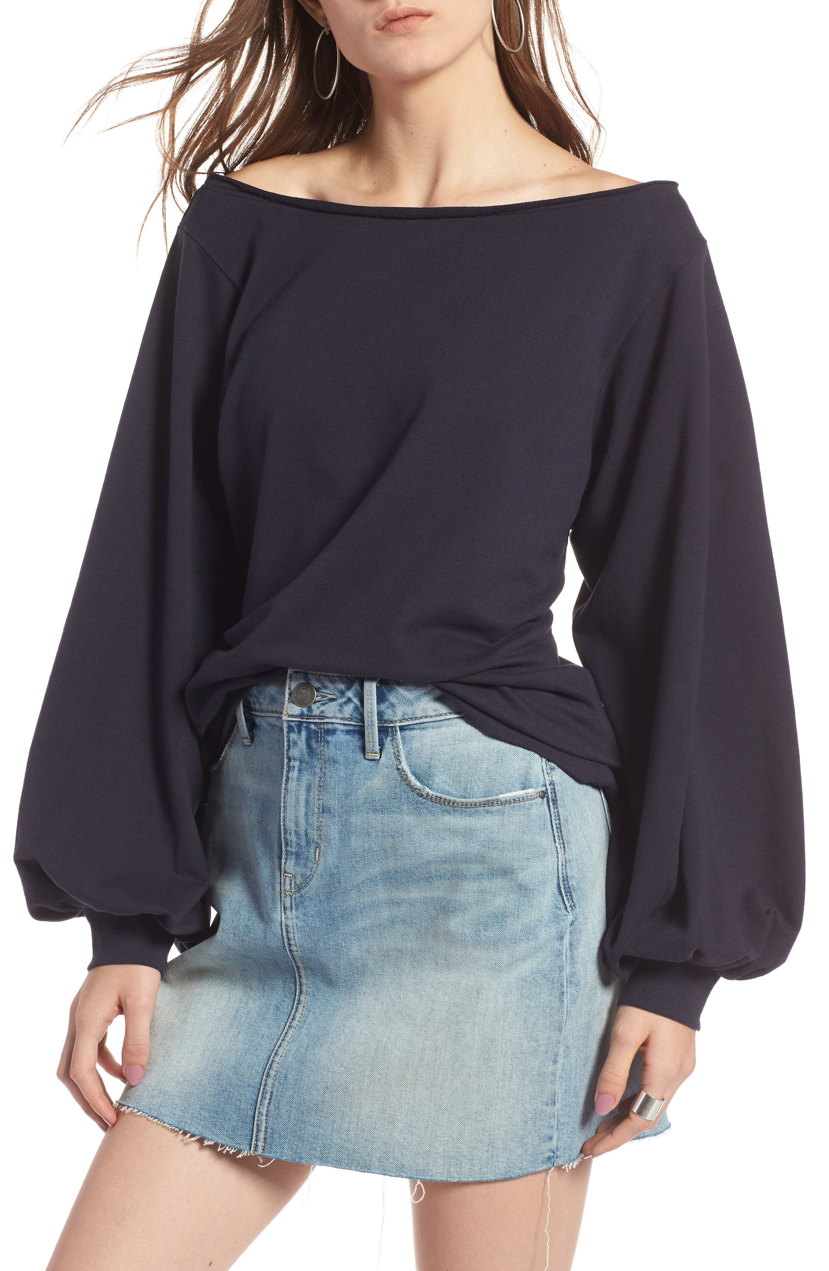 Puff Sleeve Off the Shoulder Top,                         Main,                         color, Navy Night