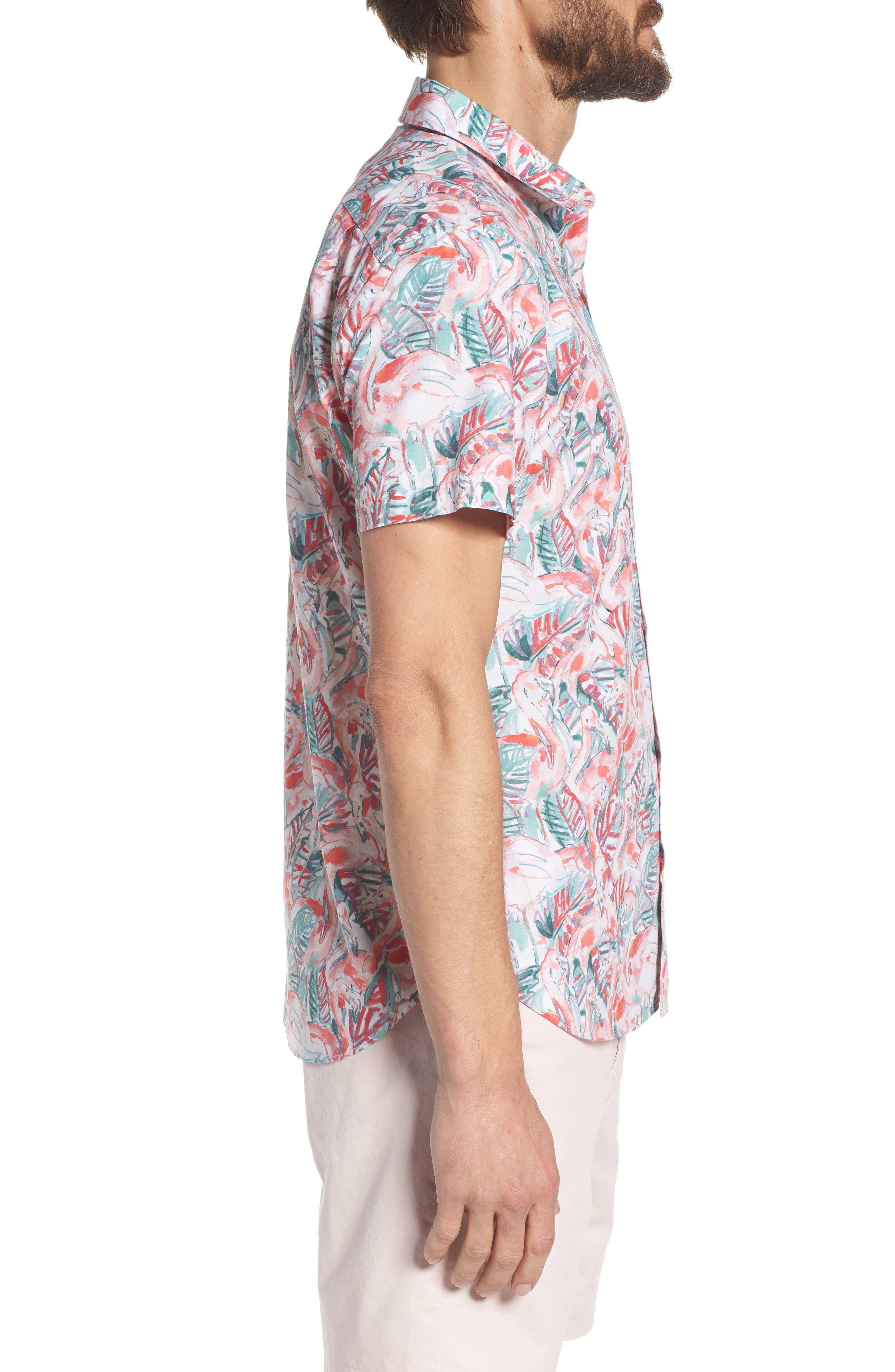 Slim Fit Print Premium Sport Shirt,                             Alternate thumbnail 4, color,                             Painterly Flamingo - Coral Fan