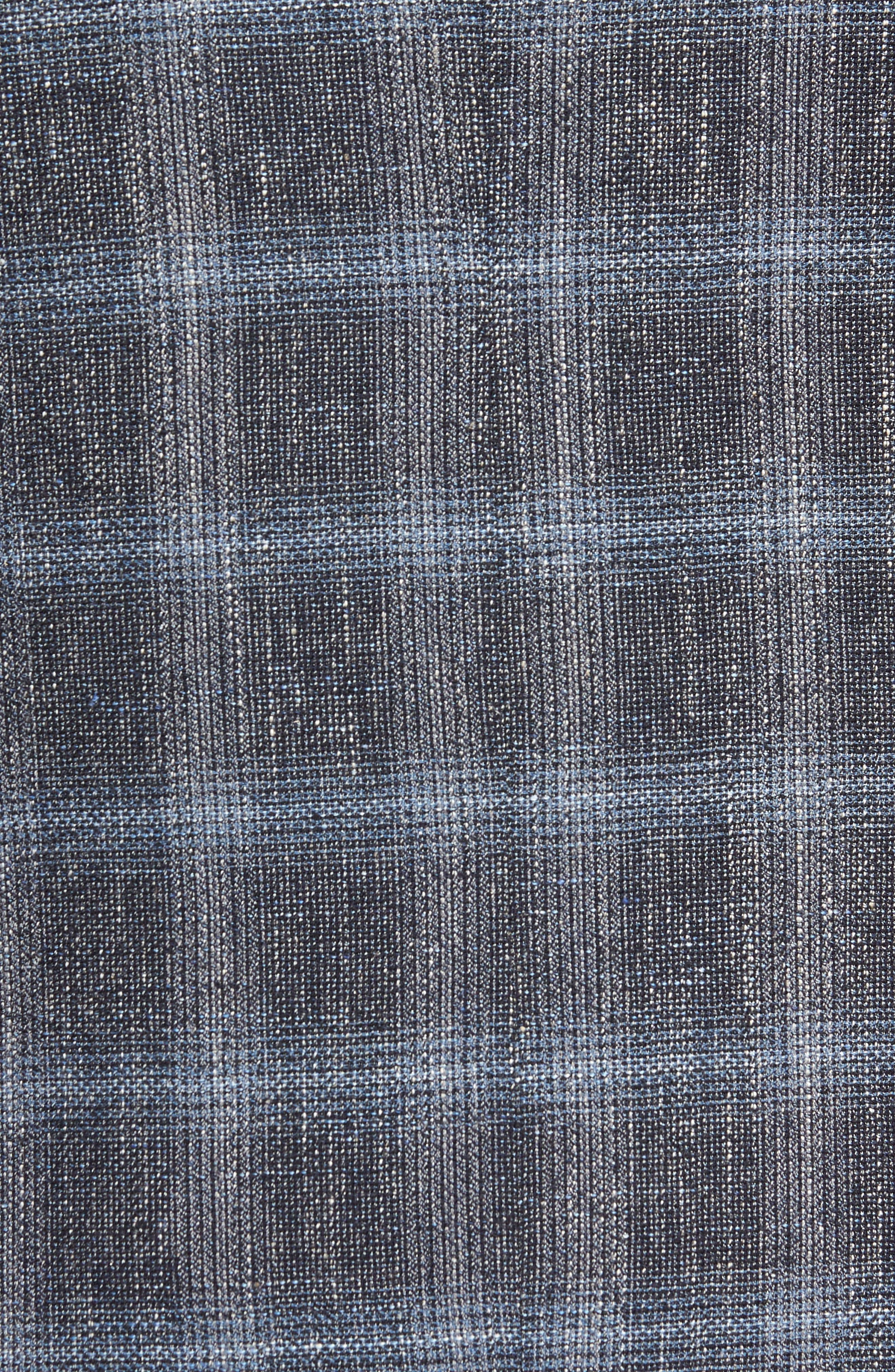 Trim Fit Plaid Sport Coat,                             Alternate thumbnail 5, color,                             Grey