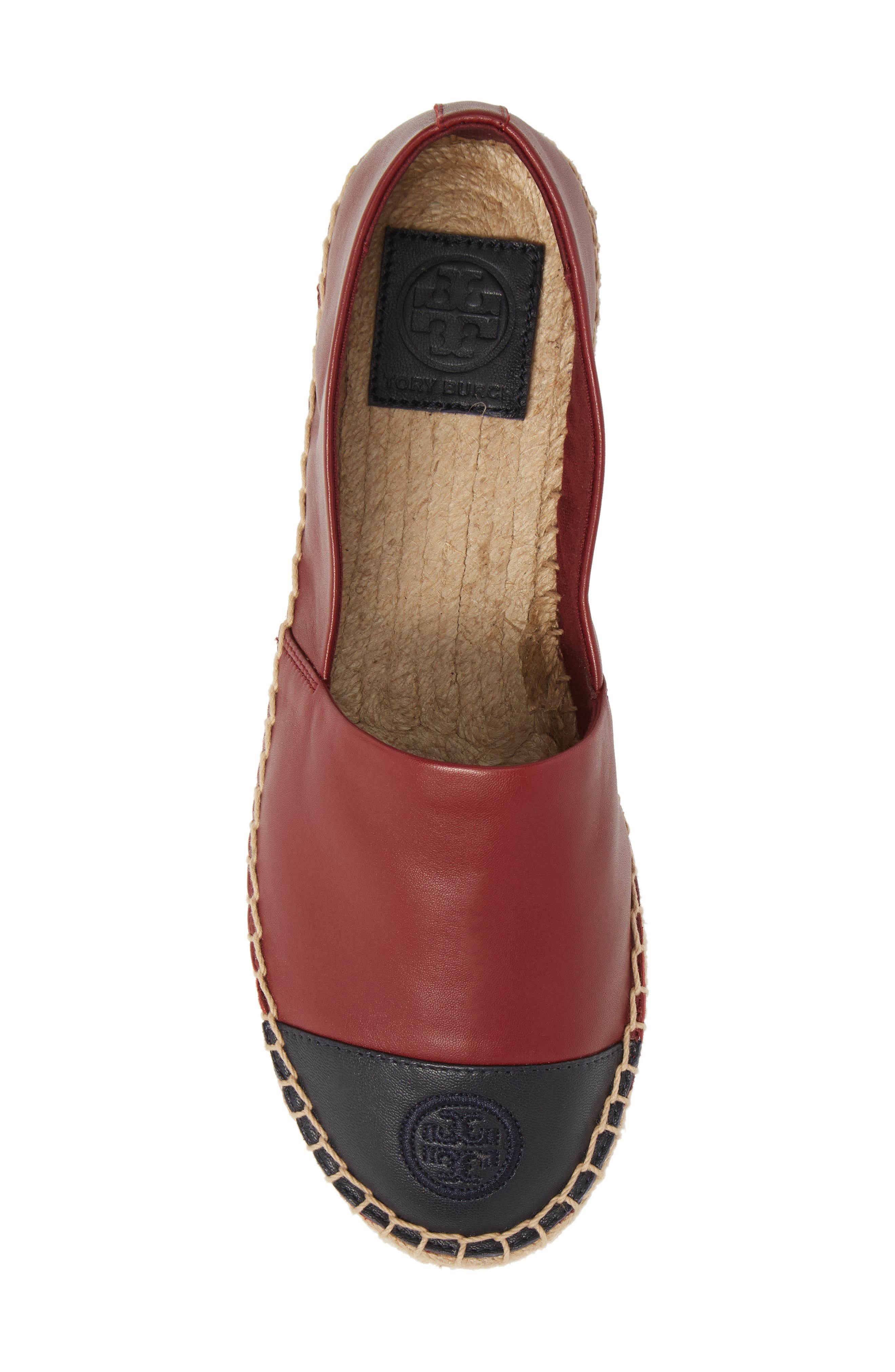 Colorblock Espadrille Flat,                             Alternate thumbnail 5, color,                             Tuscan Wine/ Tory Navy