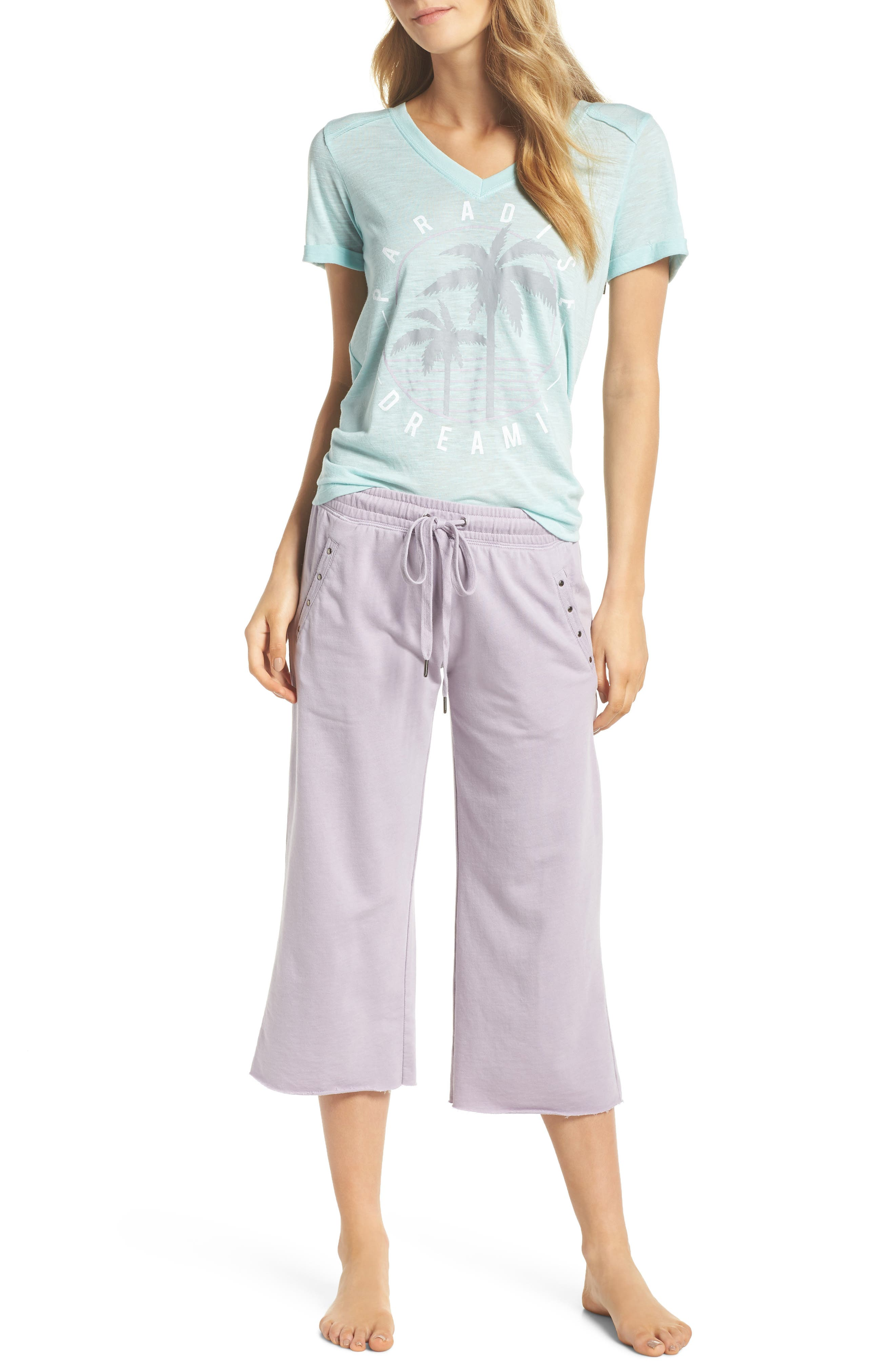 Studded Crop Pajama Pants,                             Alternate thumbnail 4, color,                             Orchid