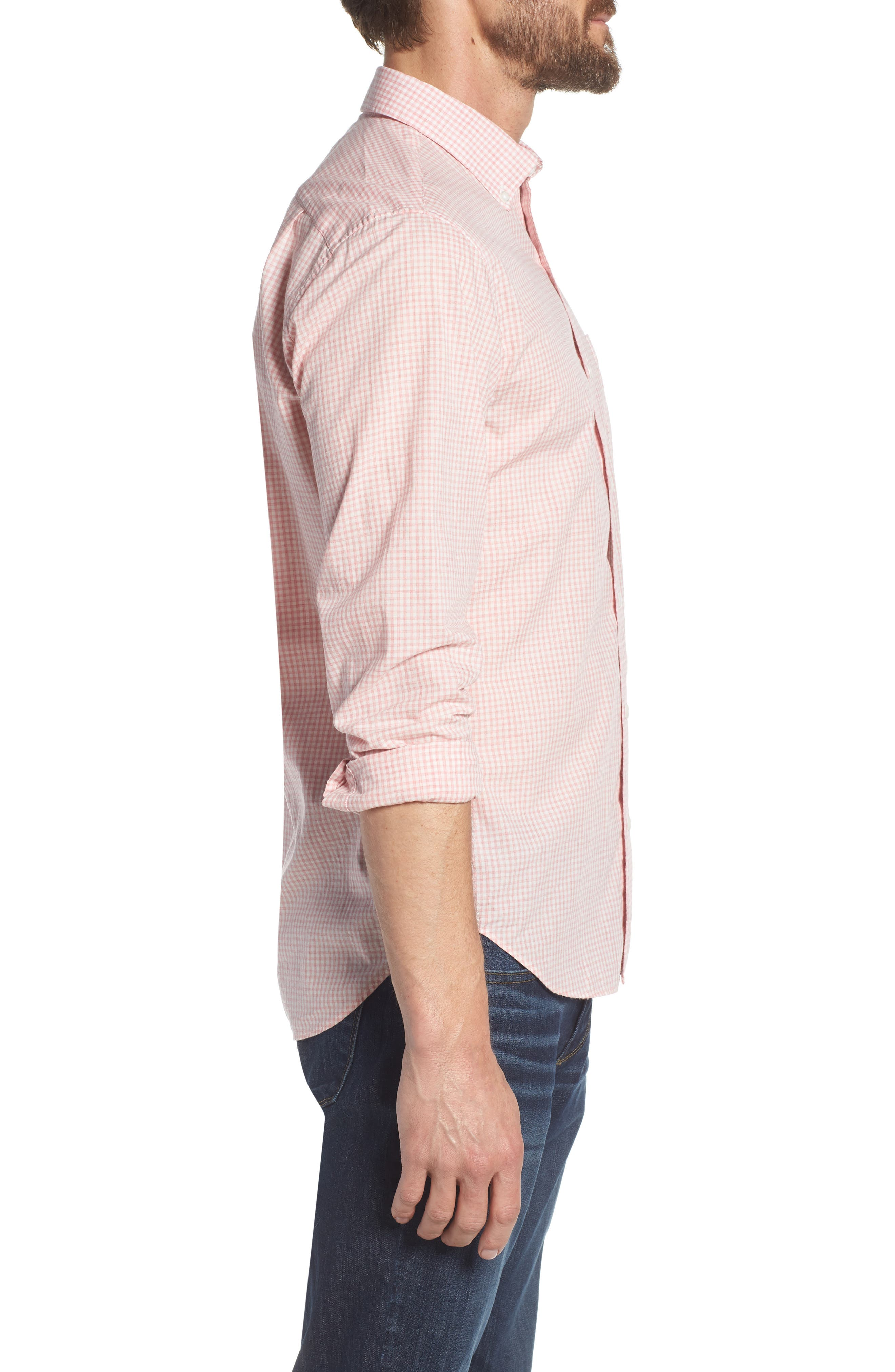 Summerweight Slim Fit Check Sport Shirt,                             Alternate thumbnail 4, color,                             Mini Gingham - Heather Rose